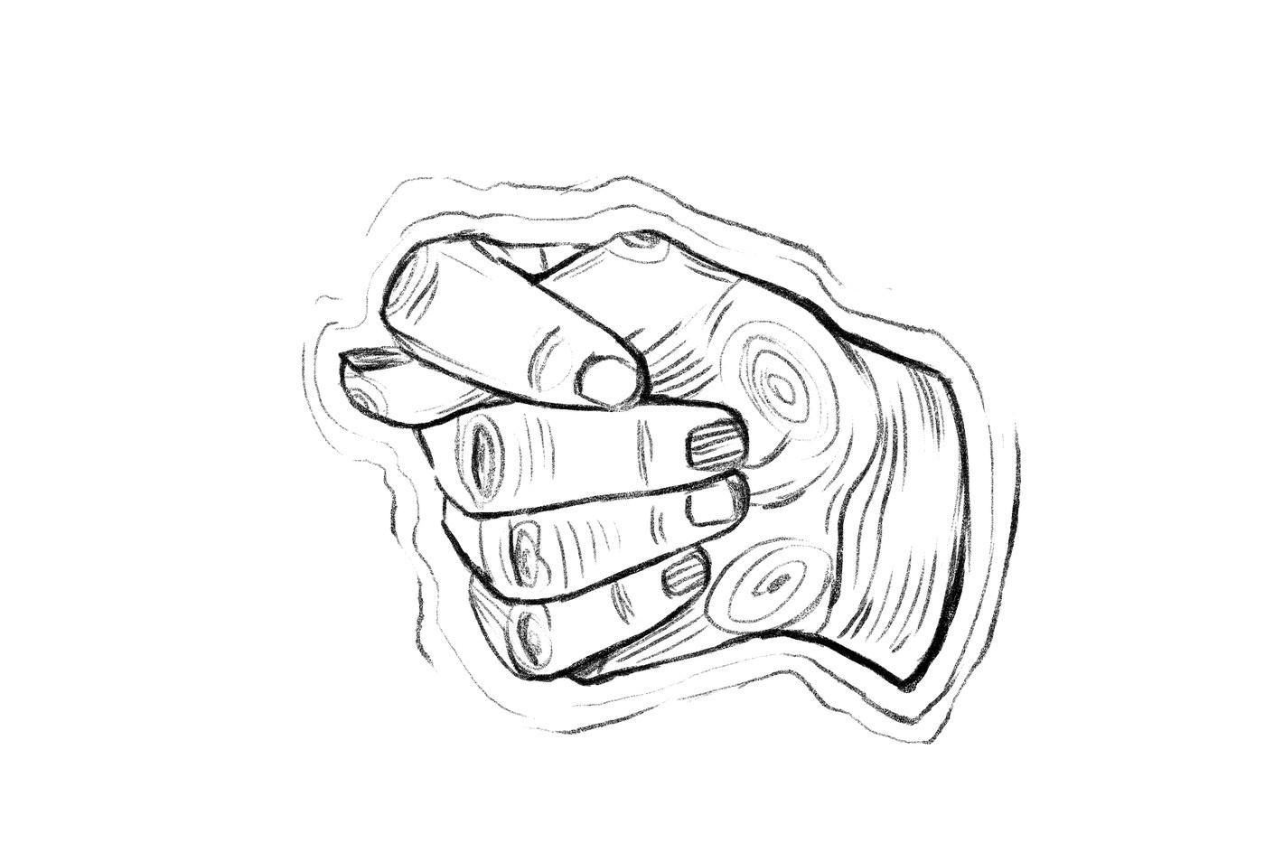 Открытка для, рисунок фига из пальцев смешная