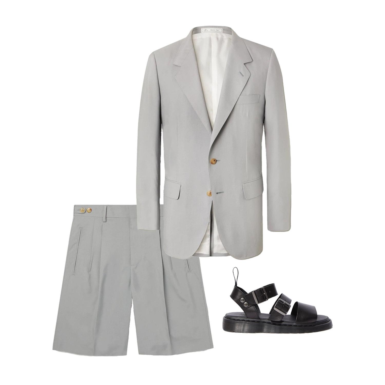 Пиджак UMIT BENAN B+, $3740; шорты UMIT BENAN B+, $990; сандалии Dr. Martens, 15 900 руб.
