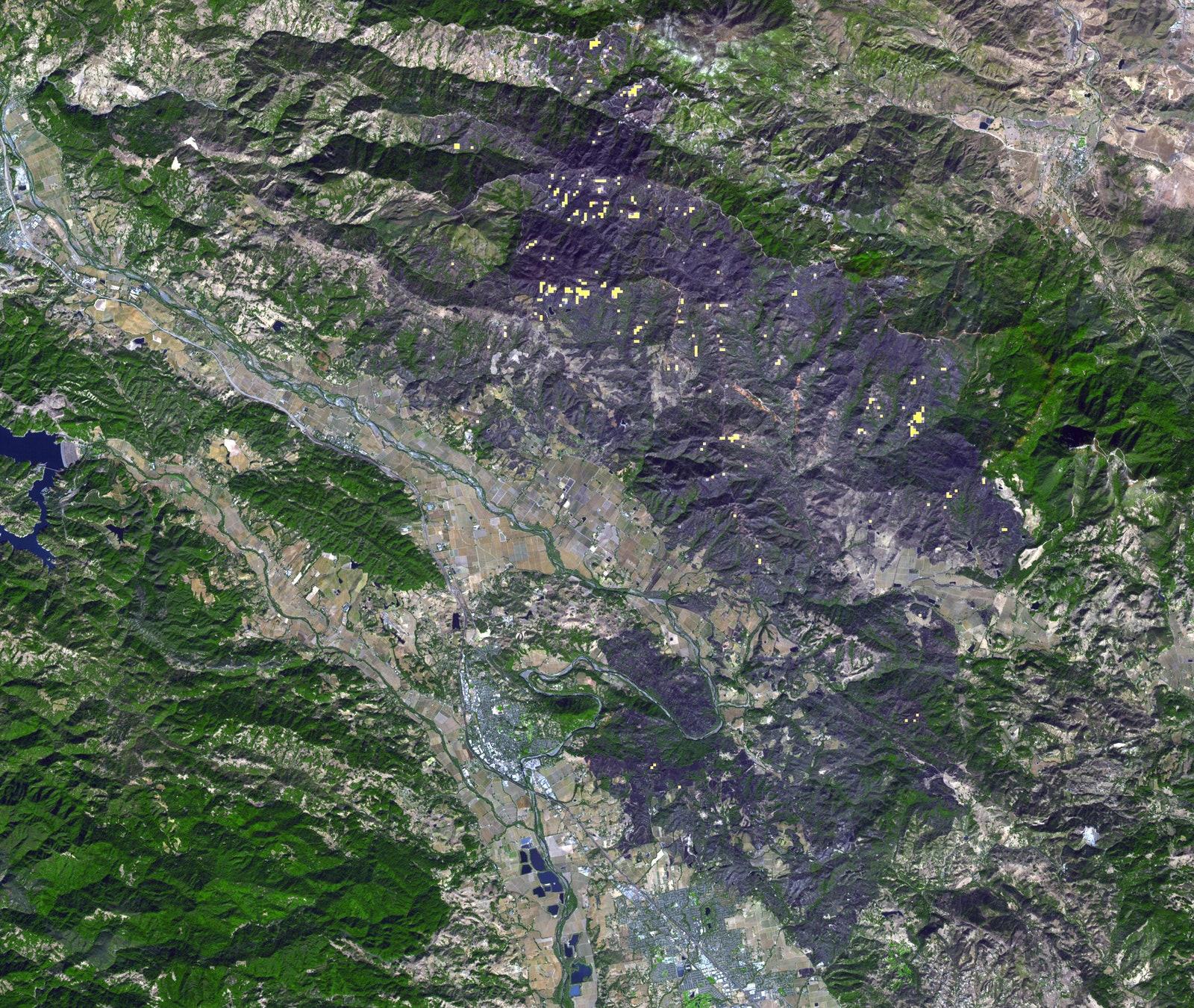 В ноябре 2019 пожар, получивший название Кинкейд, распространился почти повсему округу Сонома, штат Калифорния. Наснимке можно видеть обгоревшие области — они отмечены серым цветом. Области, где пожары все еще бушуют, помечены желтыми точками.