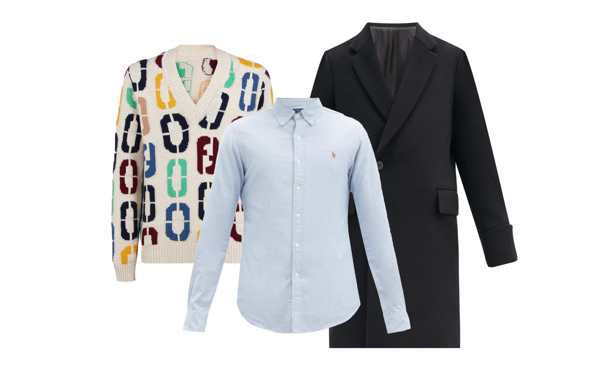 Пальто Wooyoungmi, €917; джемпер Fendi, 72 000 руб. ; рубашка Polo Ralph Lauren, €89