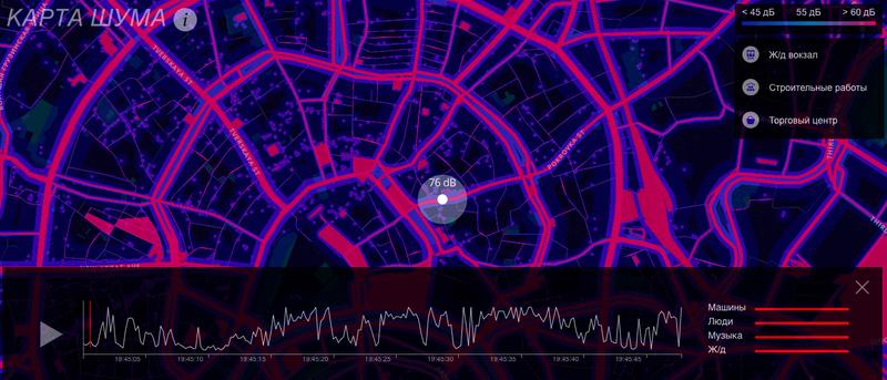 Карта шумового загрязнения района Москвы