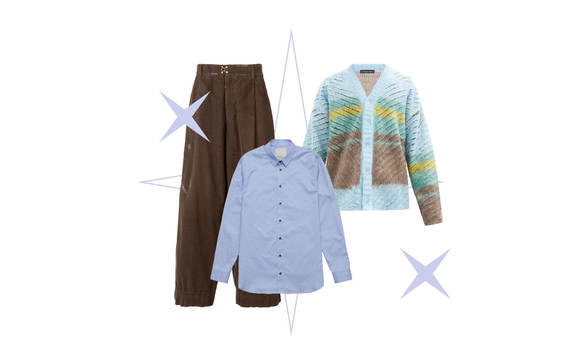 Кардиган Y/Project, €820; брюки Kolor, 40 880 руб.; рубашка Tryyt, 6 800 pуб.
