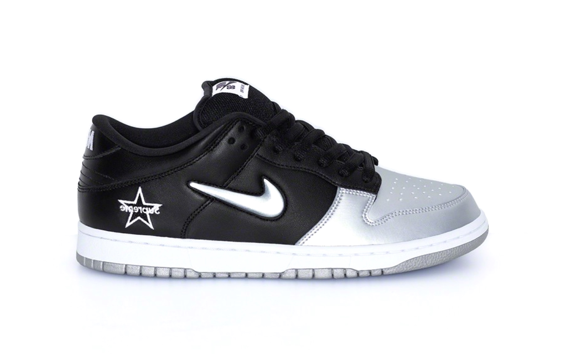 "Supreme x Nike SB Dunk Low ""Black/Metallic Silver"""
