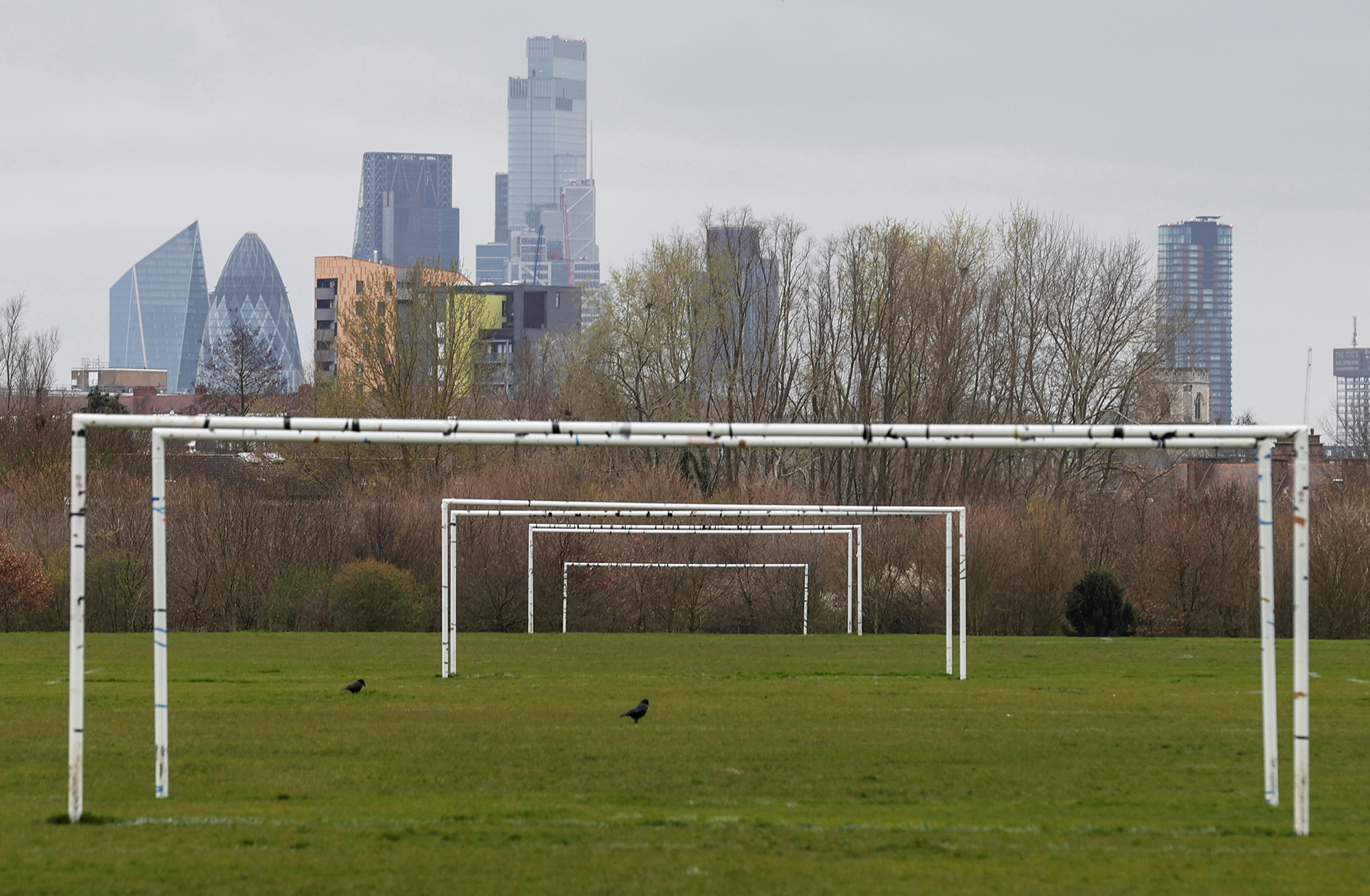 Empty pitches are seen on Hackney Marshes in London, Britain, March 15, 2020. REUTERS/Eddie Keogh TPX IMAGES OF THE DAY