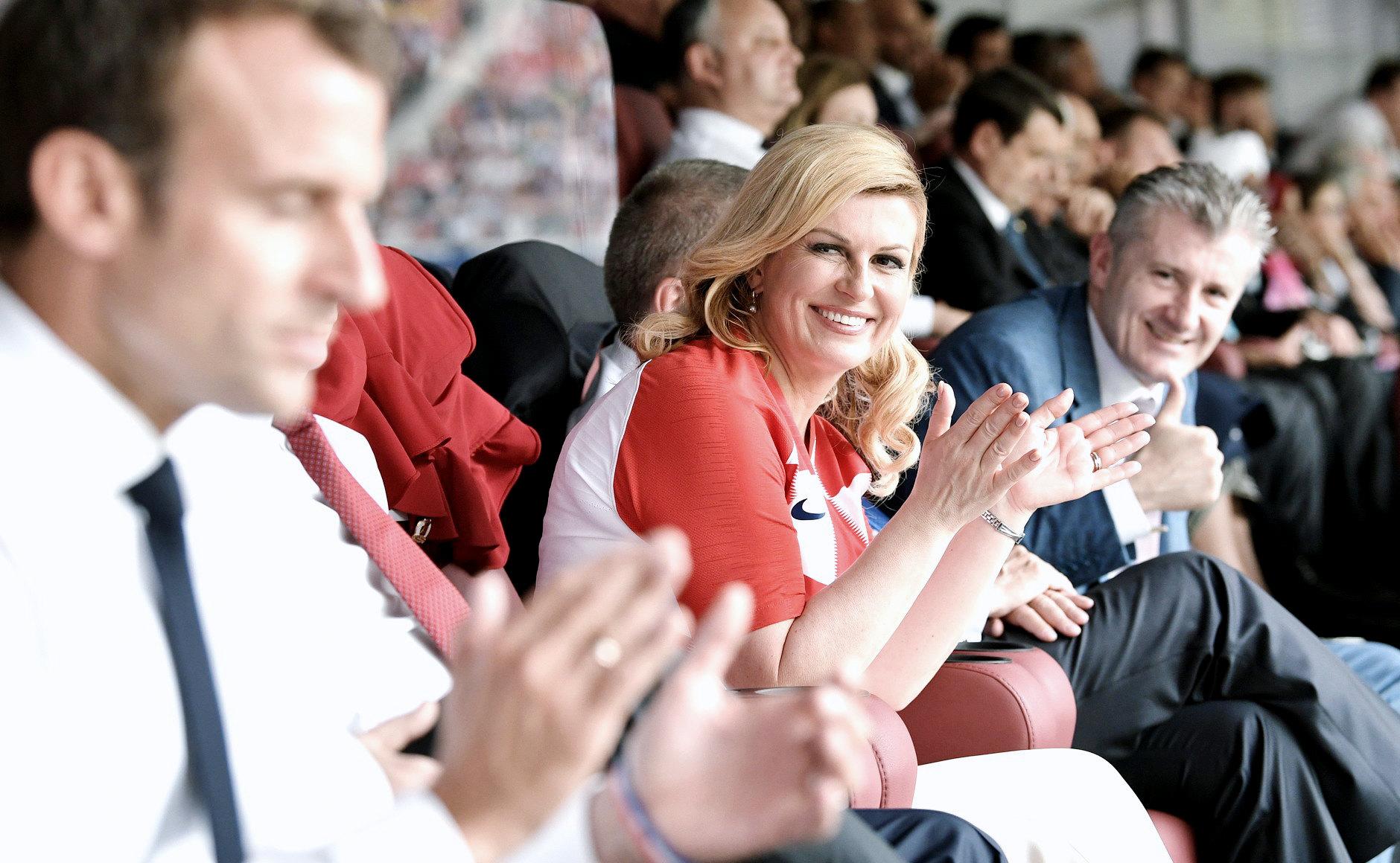 Президент Хорватии Колинда Грабар-Китарович нафинальном матче чемпионата мира пофутболу