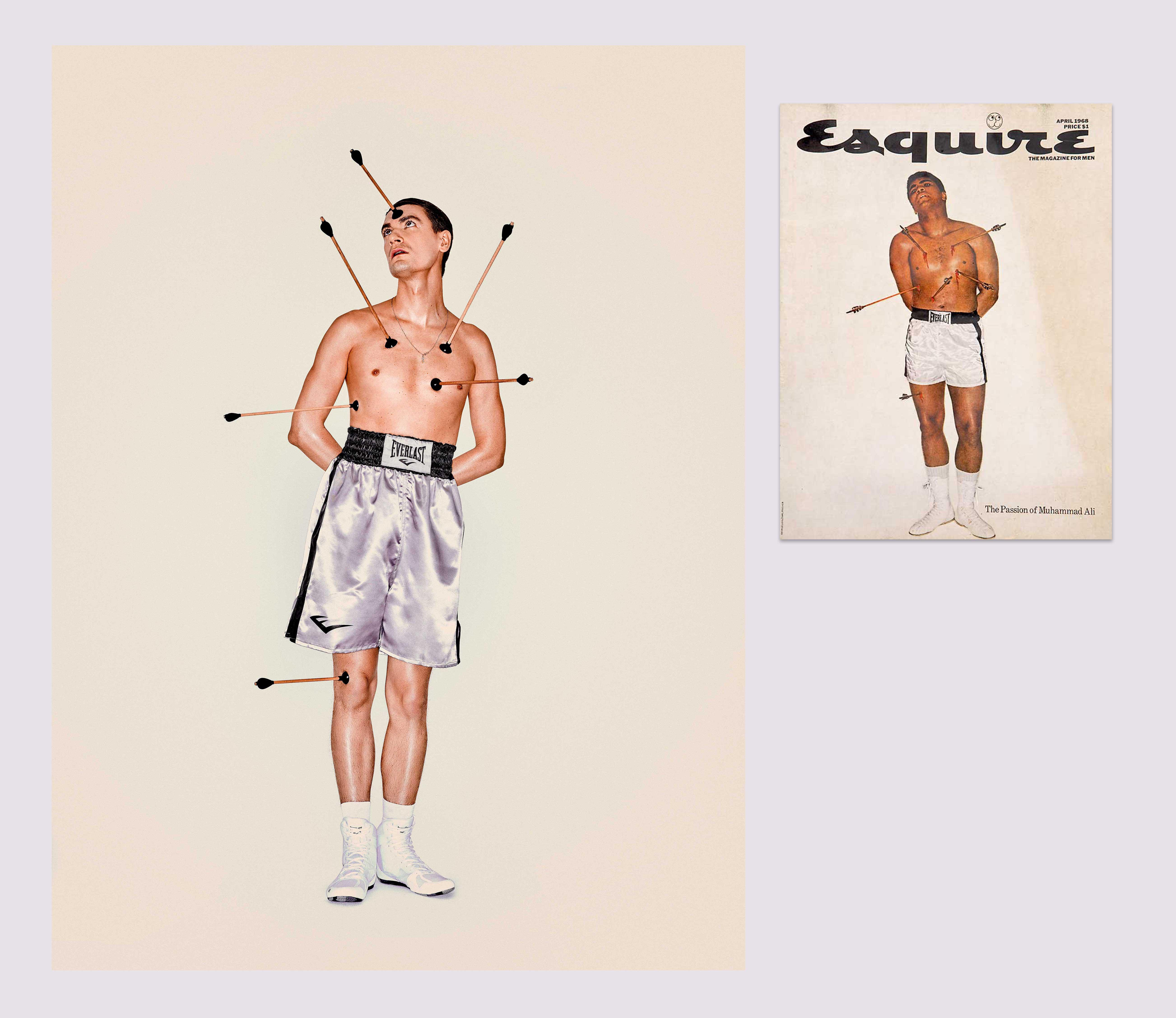 1968 год Мохаммед Али вобразе святого Себастьяна наобложке апрельского номера Esquire США.