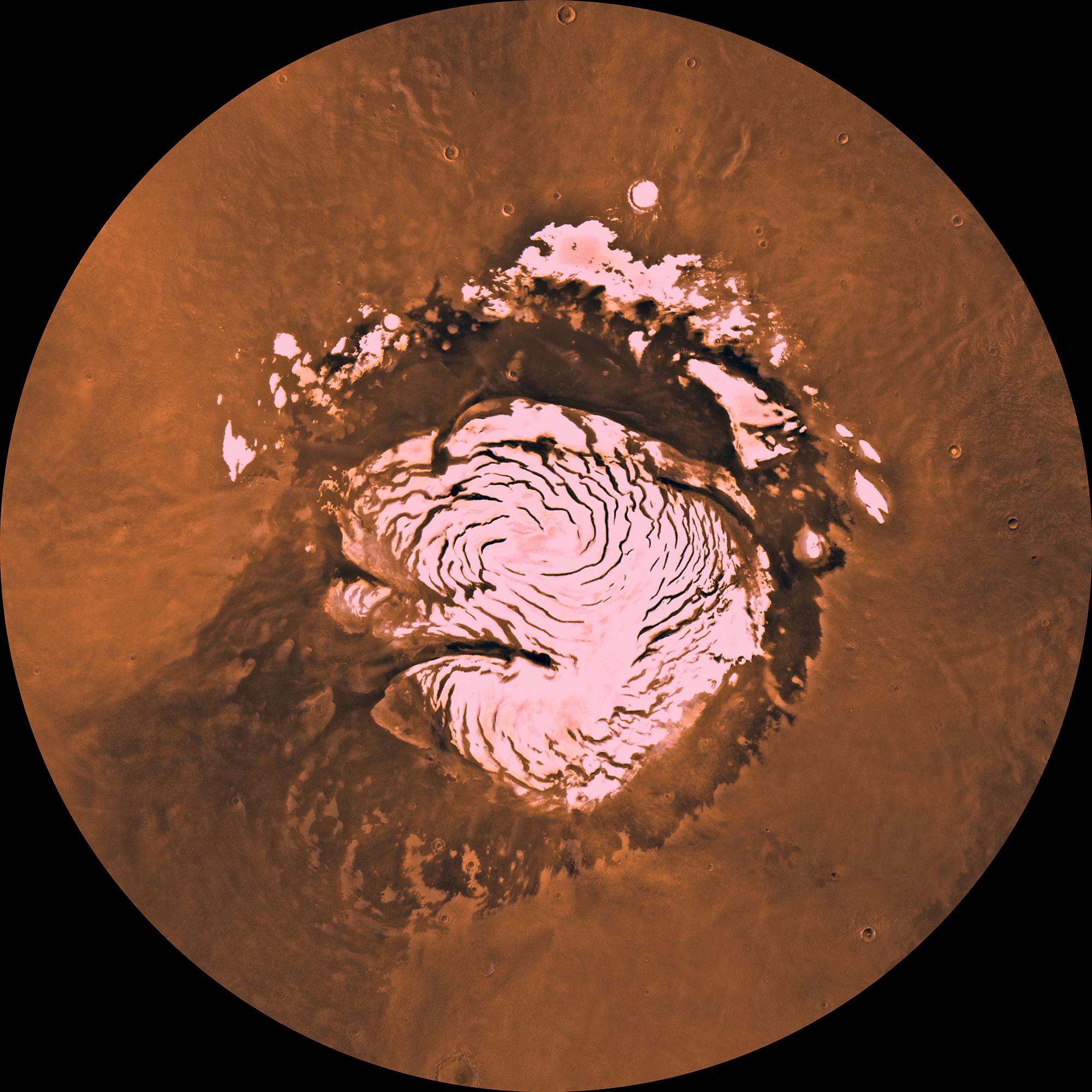 Подпись: Полярная шапка Марса во многом состоит изблестящего водного льда