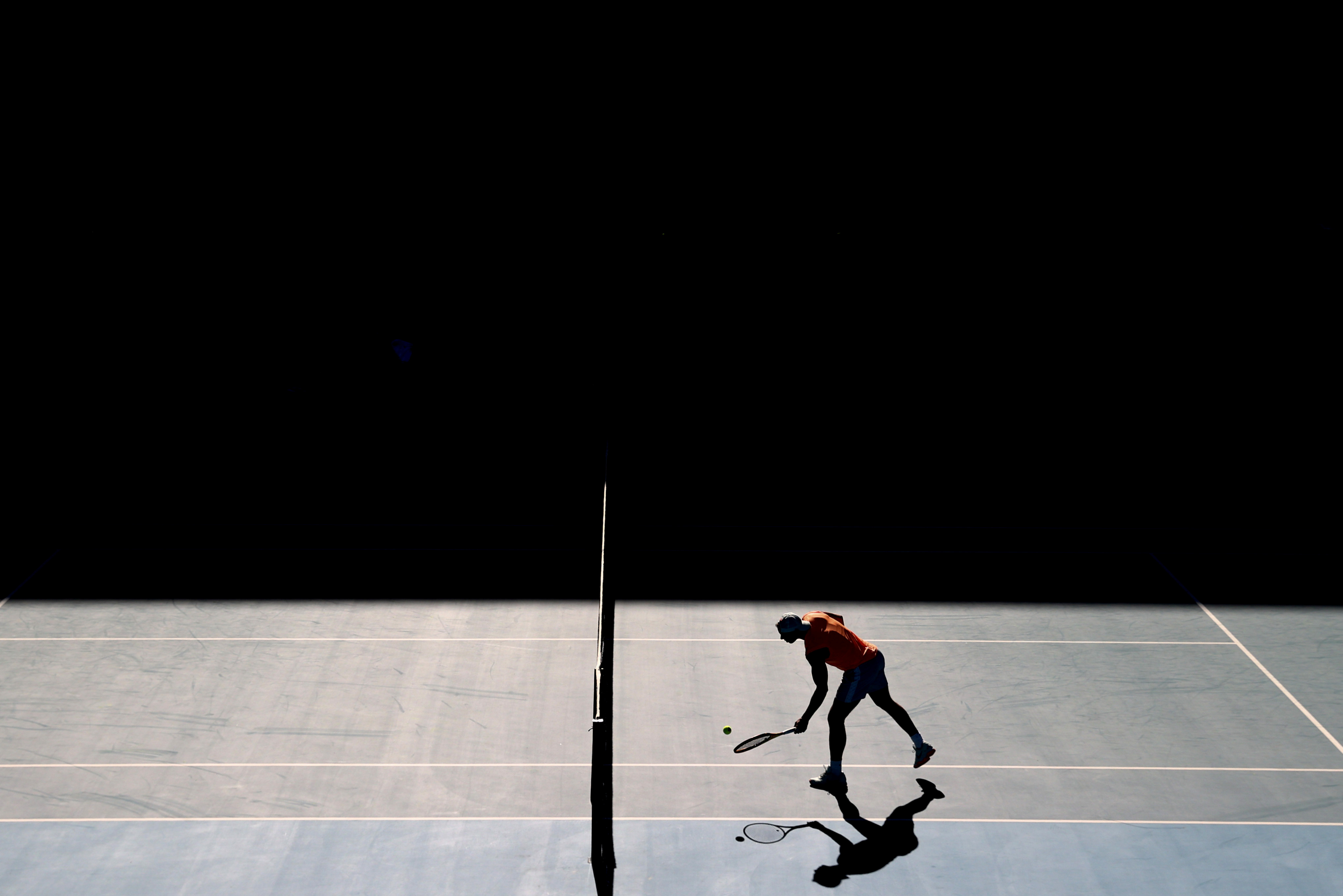 Tennis star Rafael Nadal of Spain practices at Melbourne Park in advance of the Australian Open in Melbourne, Australia, January 31, 2021. REUTERS/Loren Elliott