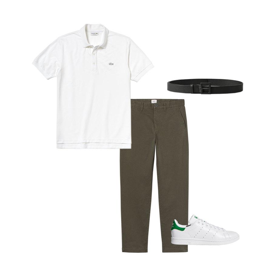 Поло Lacoste, 3790 руб. ; брюки H&M, 1899 руб.; ремень COS, $49; кроссовки adidas Stan Smith, 7999 руб.