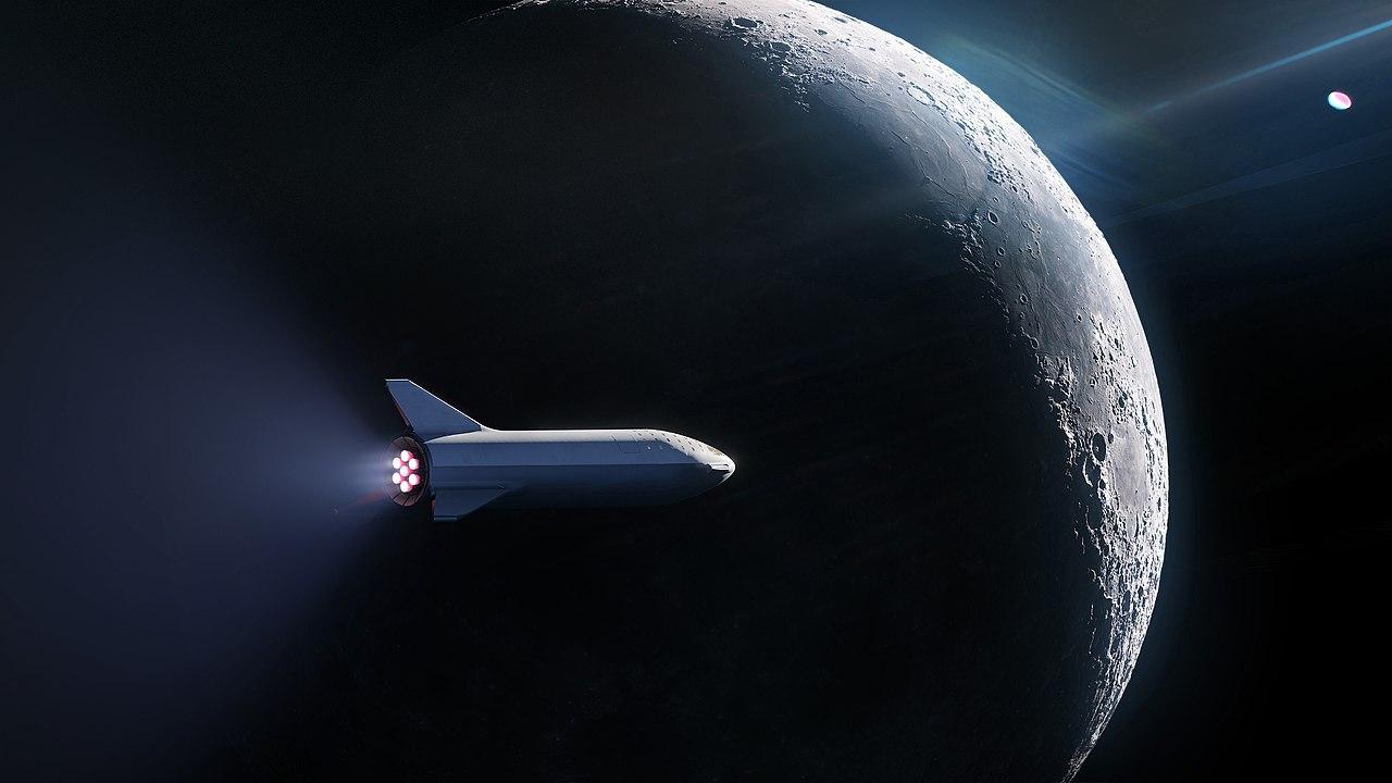 Starship сяпонским миллиардером наборту облетает Луну впредставлении художника