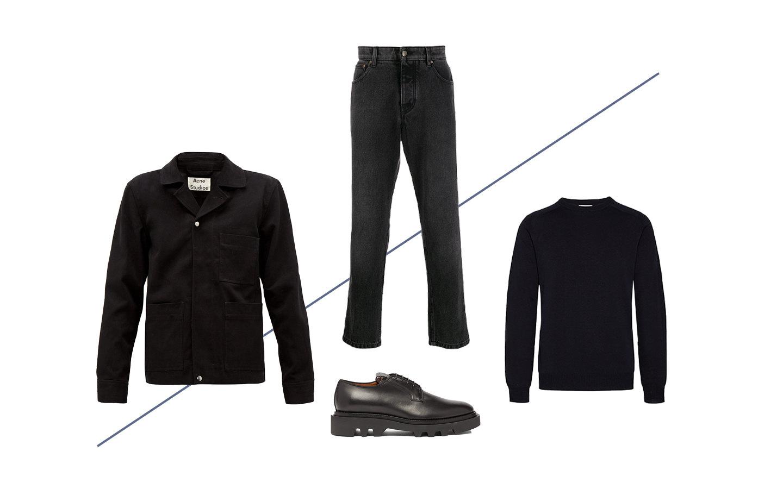 Куртка Acne Studios, €280; свитер Woolrich, £89; джинсы AMI Paris, 11 024 руб.; обувь Givenchy, €669