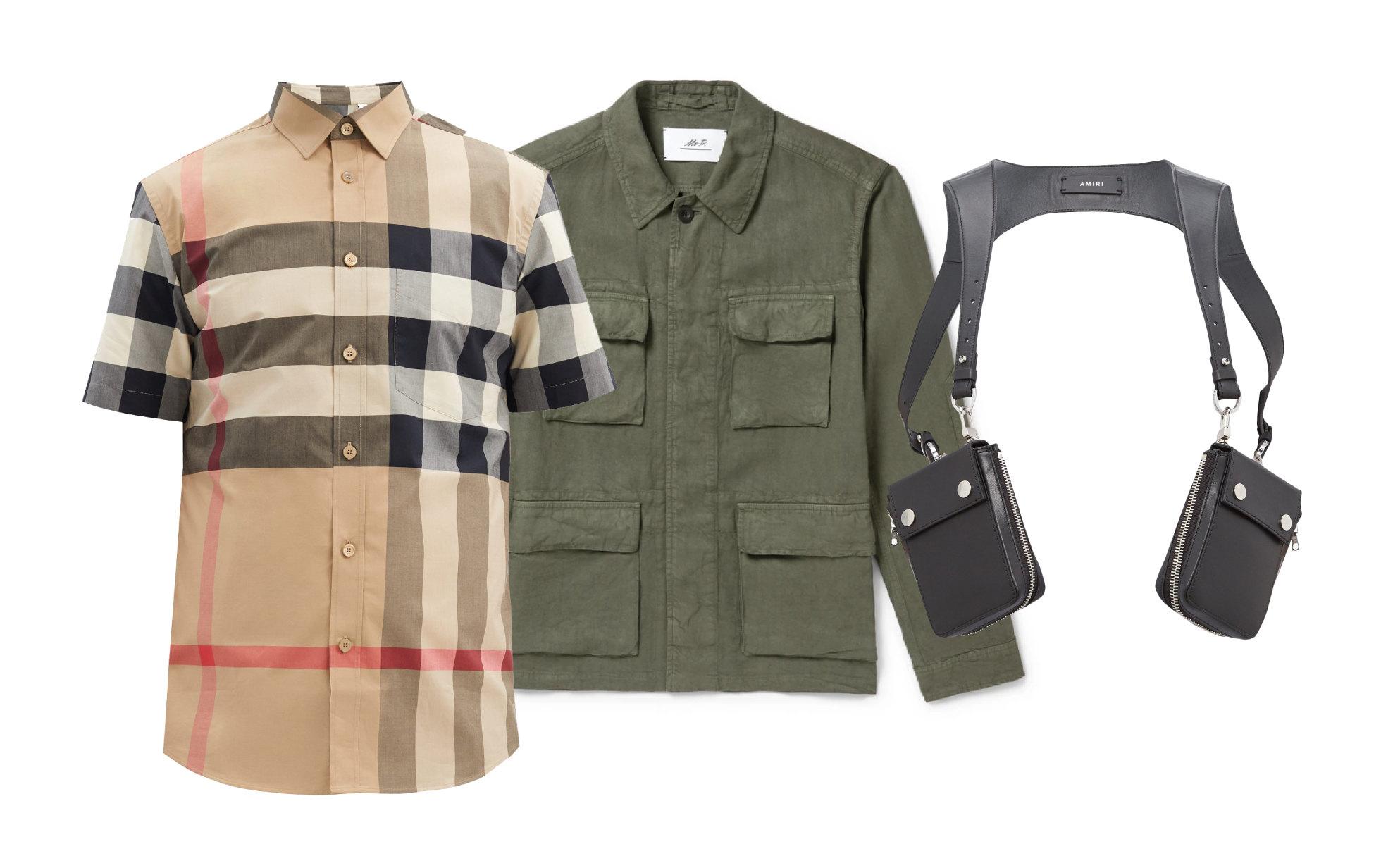 Куртка Mr P., $390; рубашка Burberry, €205; портупея Amiri, €693