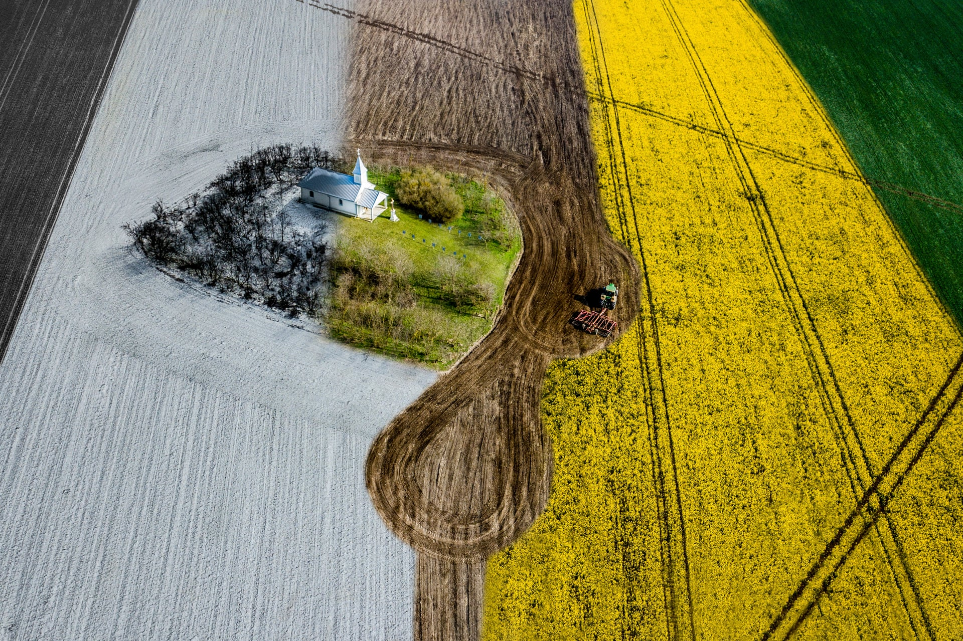 Four Seasons | Urban CommendedA lonely chapel in the middle of a field shot in the four seasons. This is the fifth in this series. A tractor is working the fieldPhotograph: Ovi D. Pop/Drone Photography Awards 2021