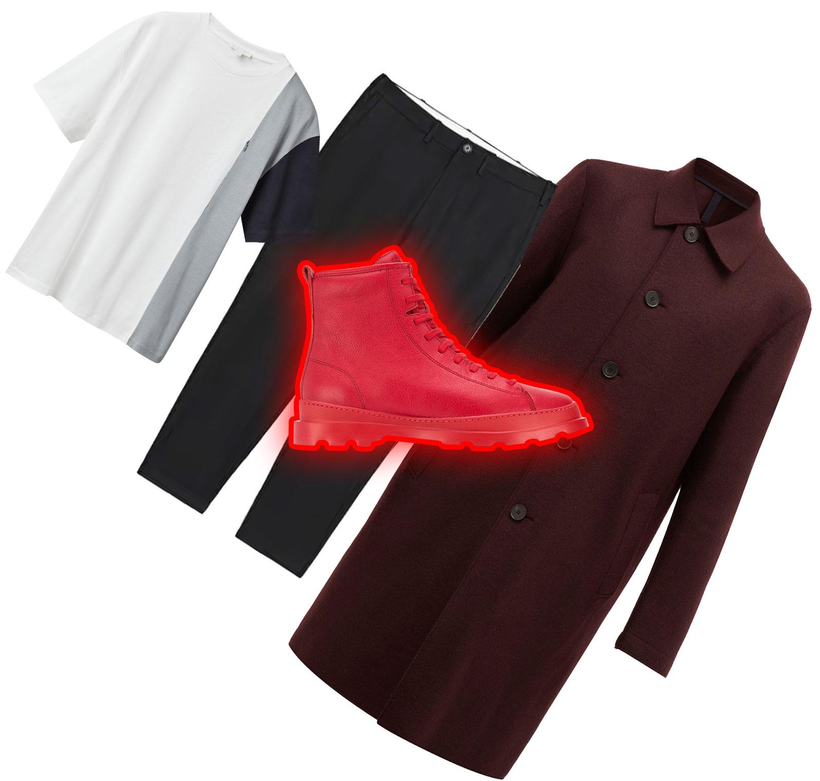 Пальто Harris Wharf London, €265; футболка COS, €45; брюки Arket, $119; обувь Champer, 14500 рублей