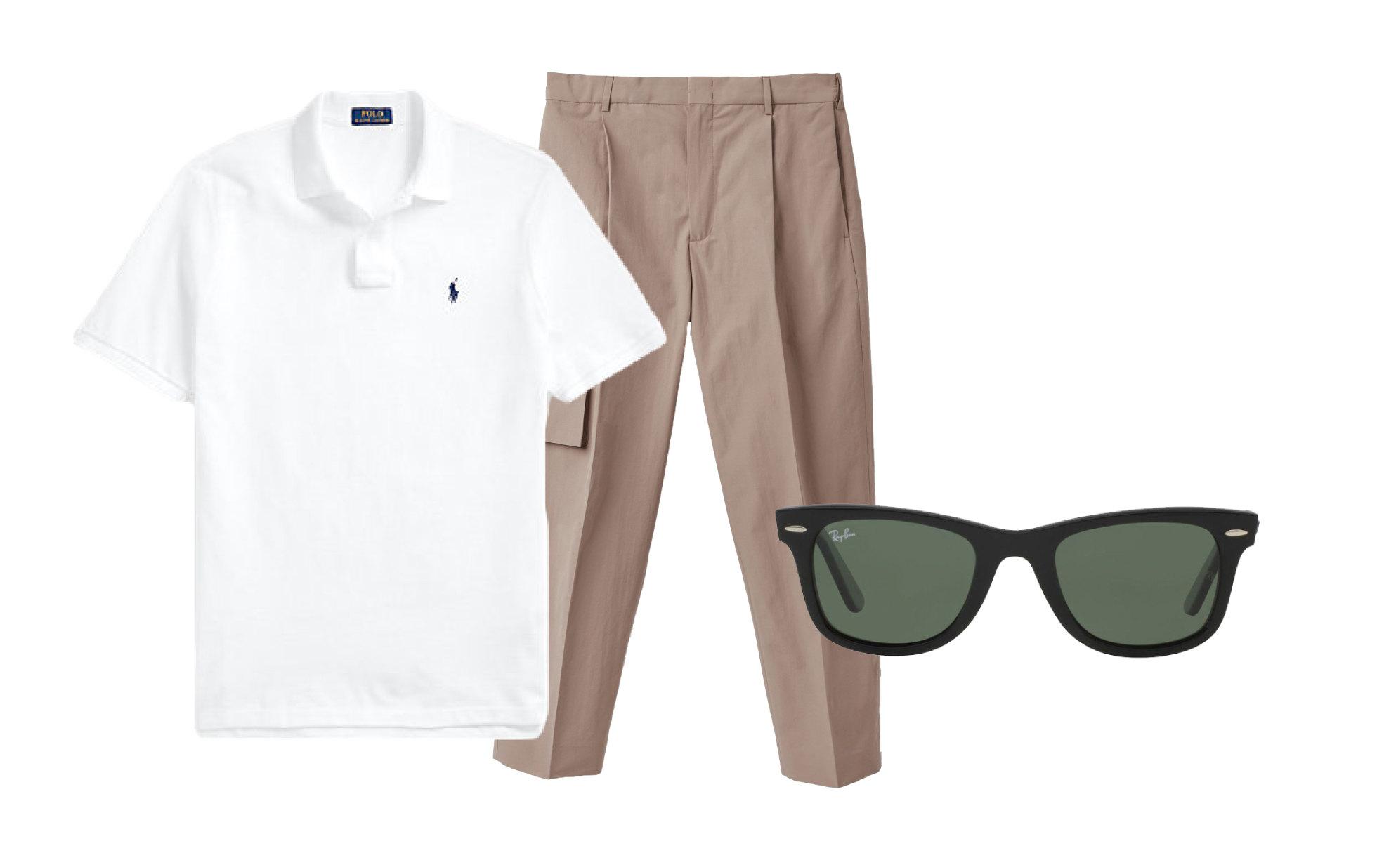 Поло Polo Ralph Lauren, $89; брюки COS, 8 990 руб. ; очки 13 800 руб.