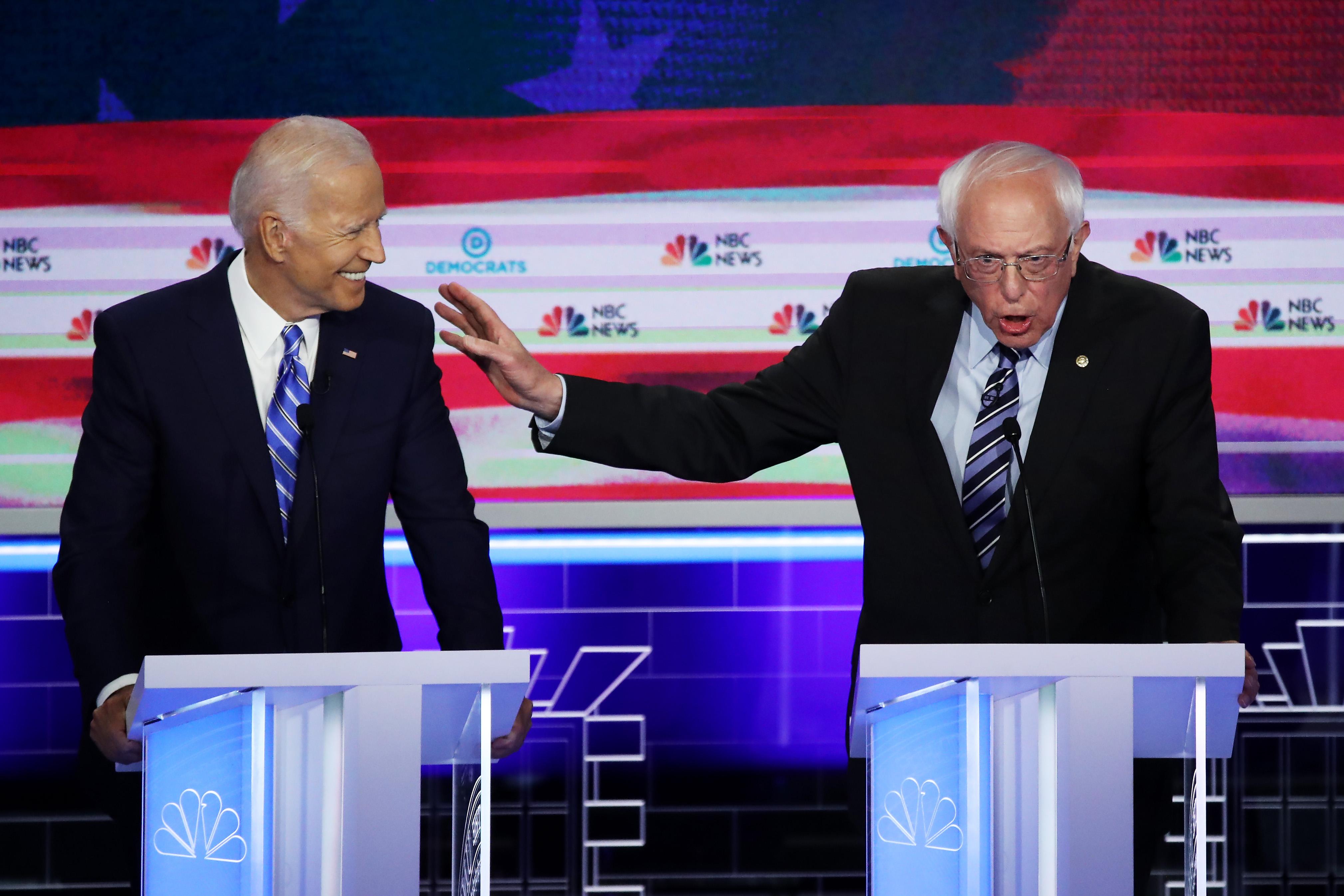 Дебаты между претендентами накандидатство впрезиденты отдемократов — Джо Байденом иБерни Сандерсом