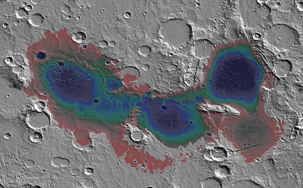 Считается, что вбассейне Эридании наюге Марса около 3,7 миллиарда лет назад находилось море, а отложения наморском дне, вероятно, возникли из-за подводной гидротермальной активности. Здесь показана приблизительная глубина воды вэтом море.