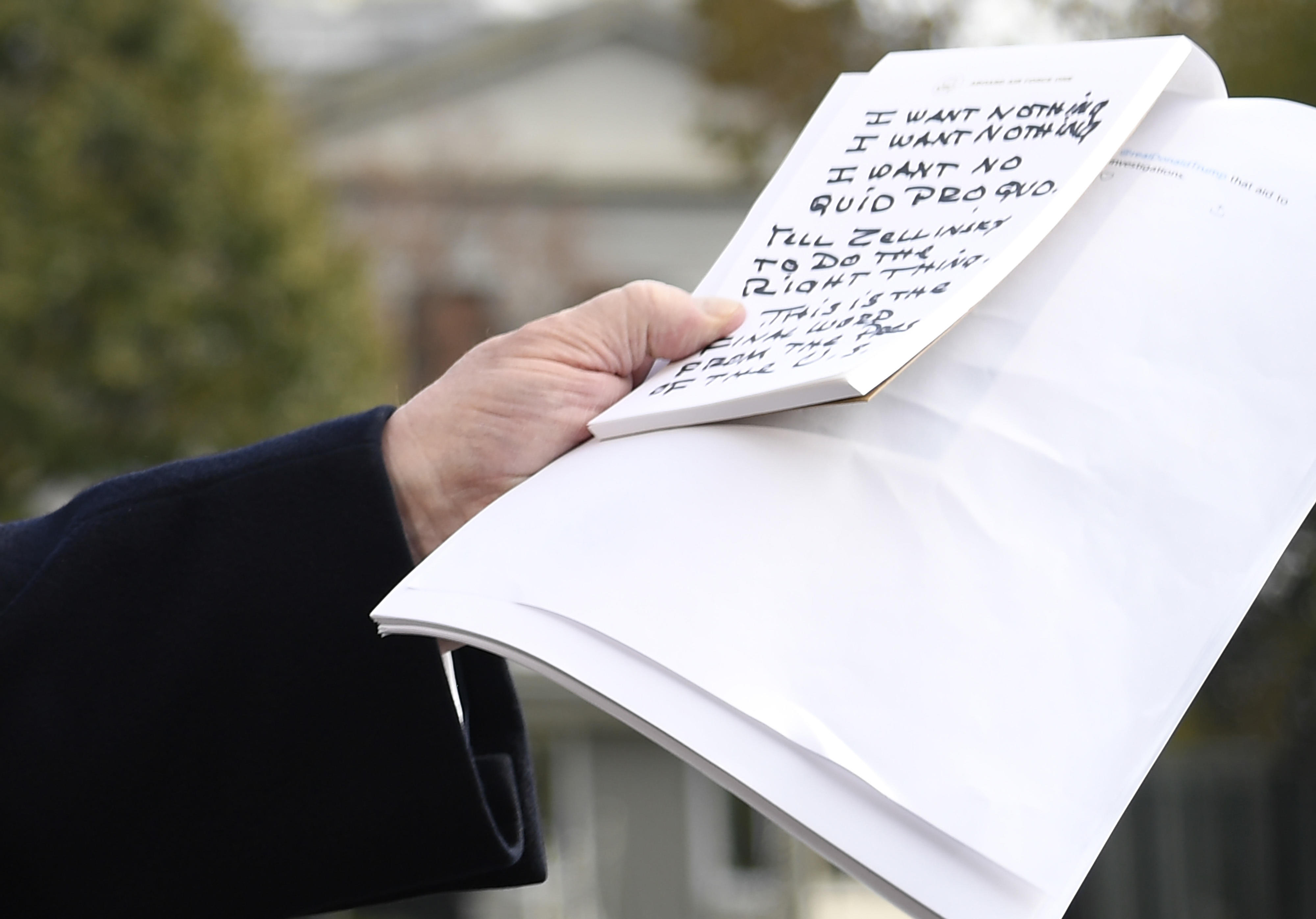 Washington, United States. 20th Nov, 2019. President Donald Trump Holds Handwritten Notes As He Makes Remarks To The Press About The Impeachment Inquiry As He Departs The White House, Wednesday, November20, 2019, In Washington, DC, For A Day Trip To Austin, Texas To Visit A Technology Center. The Notes Read: