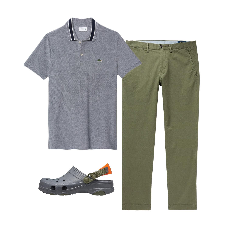 Поло Lacoste, 5 988 руб.; брюки Polo Ralph Lauren, $100; обувь Crocs, 3 099 руб.