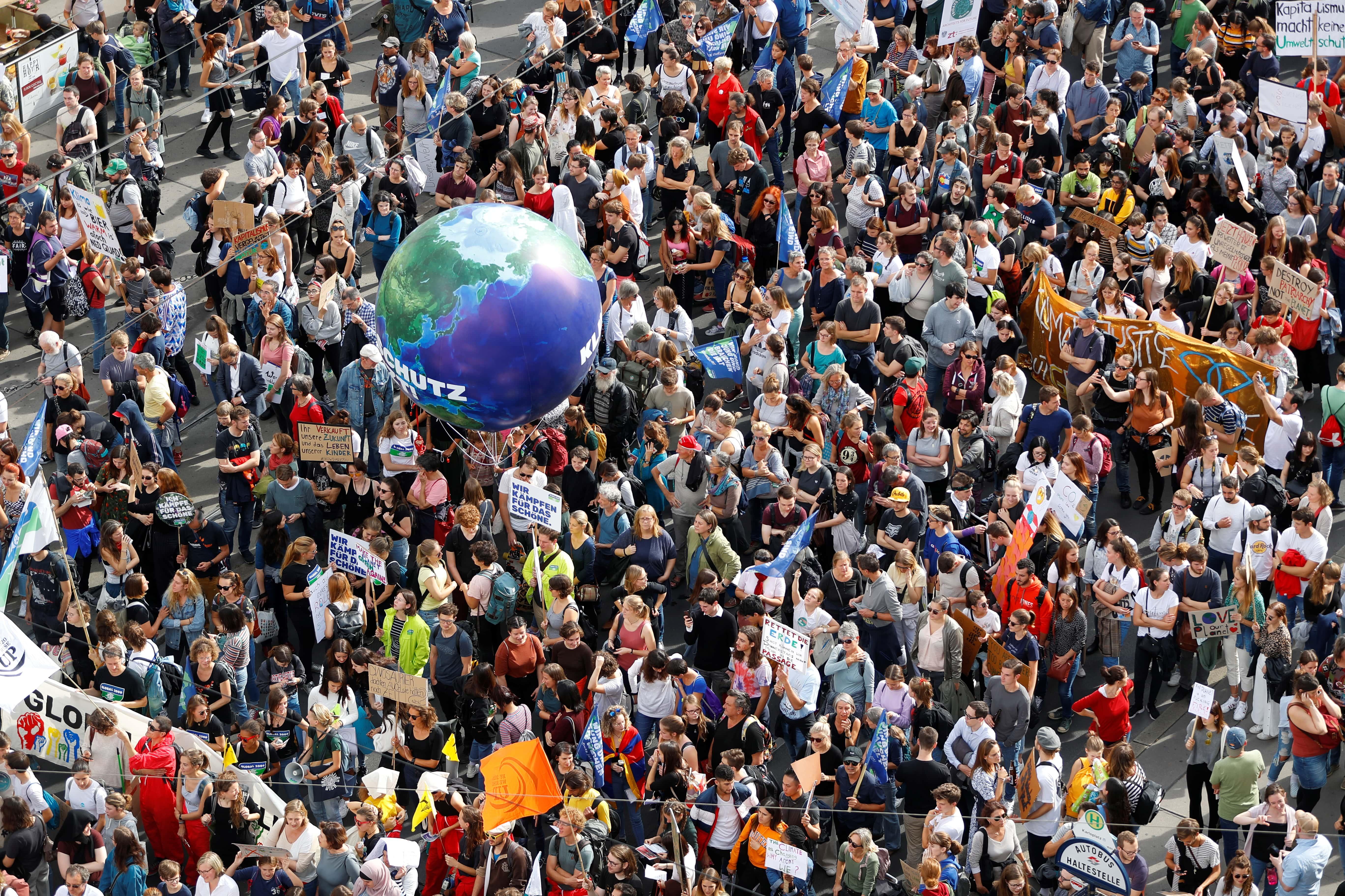 Протесты против изменения климата вВене, Австрия, сентябрь 2019