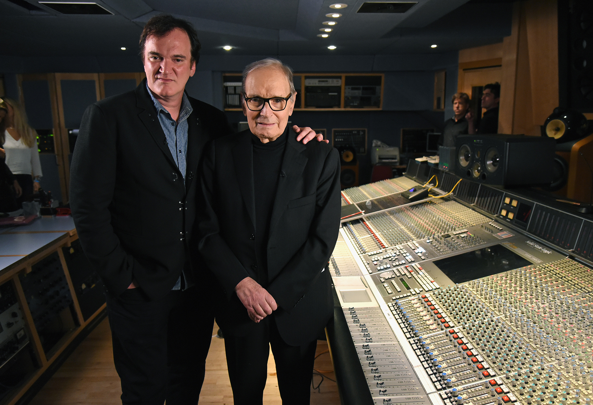 LONDON, ENGLAND - DECEMBER 09: Quentin Tarantino and Ennio Morricone pictured inside the control room at Abbey Road Studios ahead of the Live to Lathe Limited Edition Recording of the H8ful Eight Soundtrack on December 9, 2015 in London, England. КРЕДИТ Kevin Mazur/Getty Images for Universal Musi