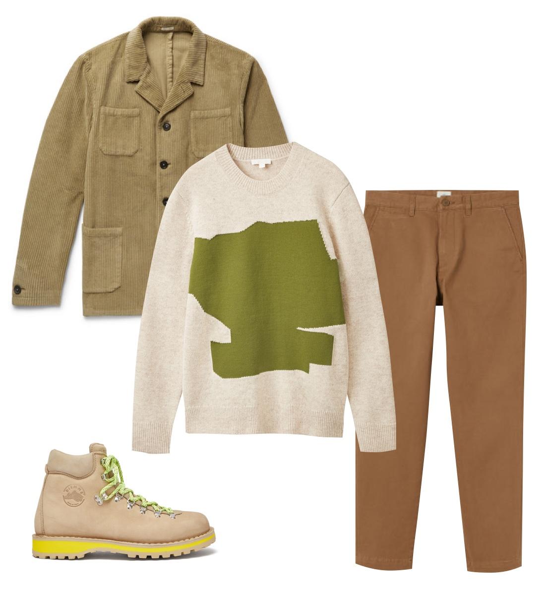 Пиджак Massimo Alba, £387; свитер COS, €89; брюки H&M, 1899 рублей ; обувь Diemme, €310