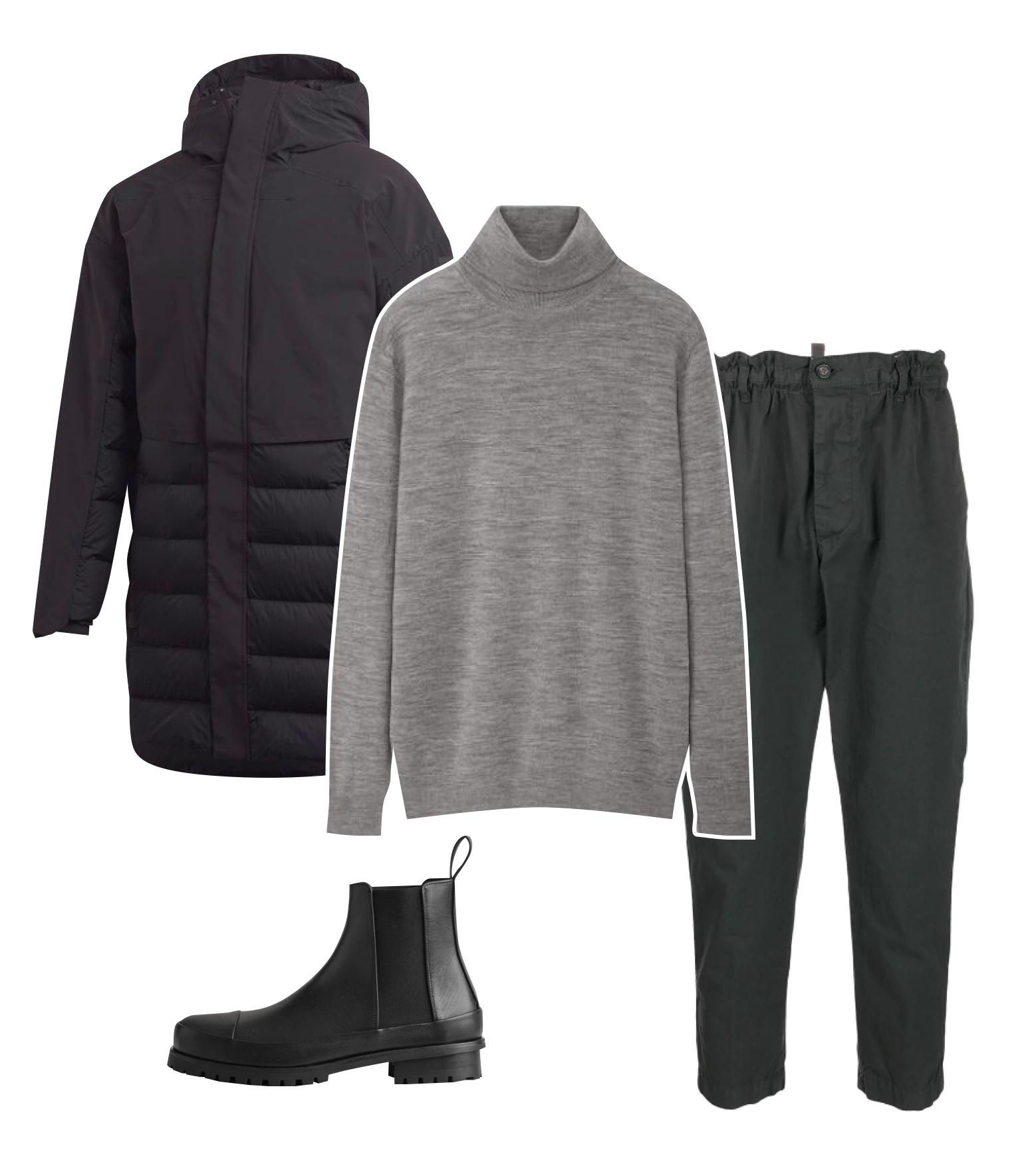Куртка adidas, 23999 рублей; водолазка Uniqlo, 2999 рублей; штаны Dsquared2, 23823 рублей; челси COS, €175