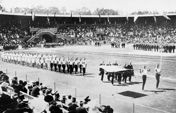 Церемония Открытия Олимпийских игр вСтокгольме, 1912 год.