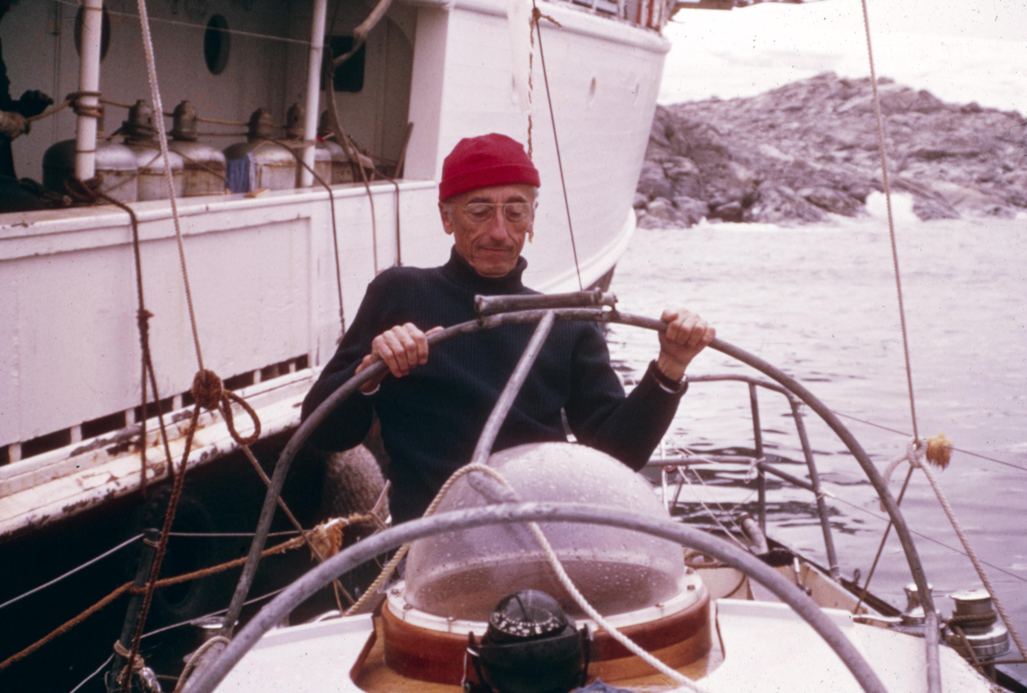 Жак-Ив Кусто насъемках своего фильма «Одиссея Жака Кусто», 1968