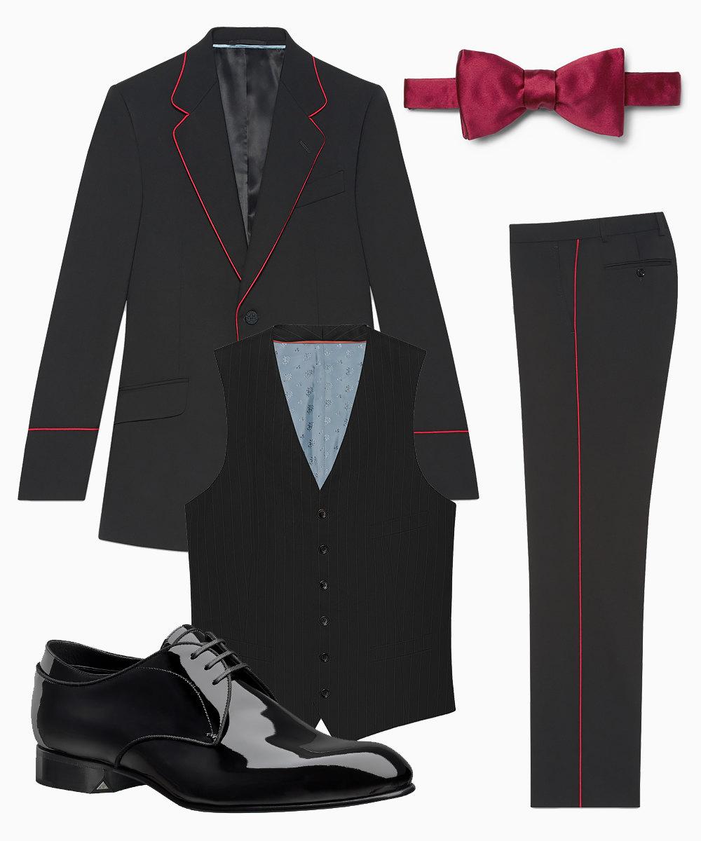 Костюм Gucci, $2900, туфли Dior Homme, цена позапросу, бабочка Favourbrook, 3800 рублей