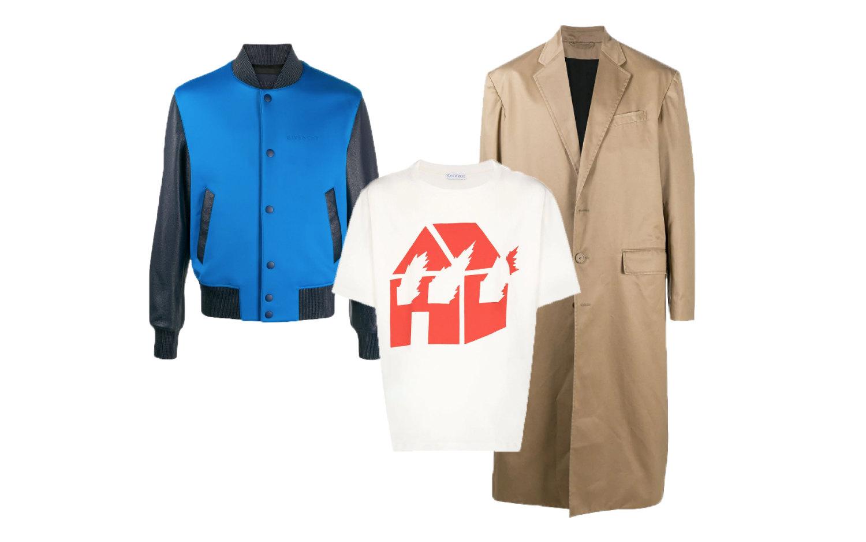 Пальто Balenciaga, €2050; бомбер Givenchy, €2193; футболка JW Anderson, 10 975 руб.