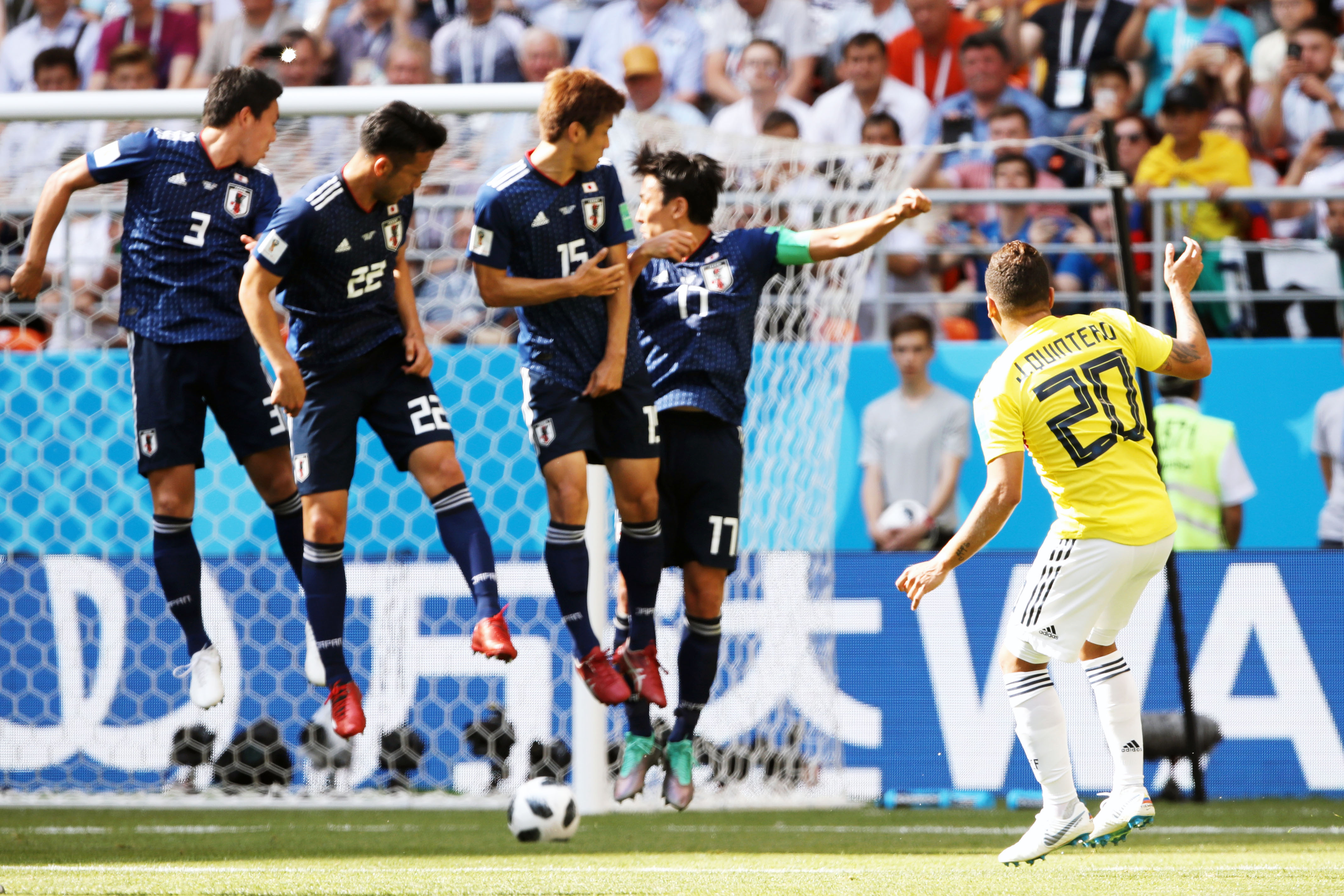 Полузащитник сборной Колумбии Хуан Кинтеро прямым ударом со штрафного забил гол вматче ЧМ-2018 против Японии.