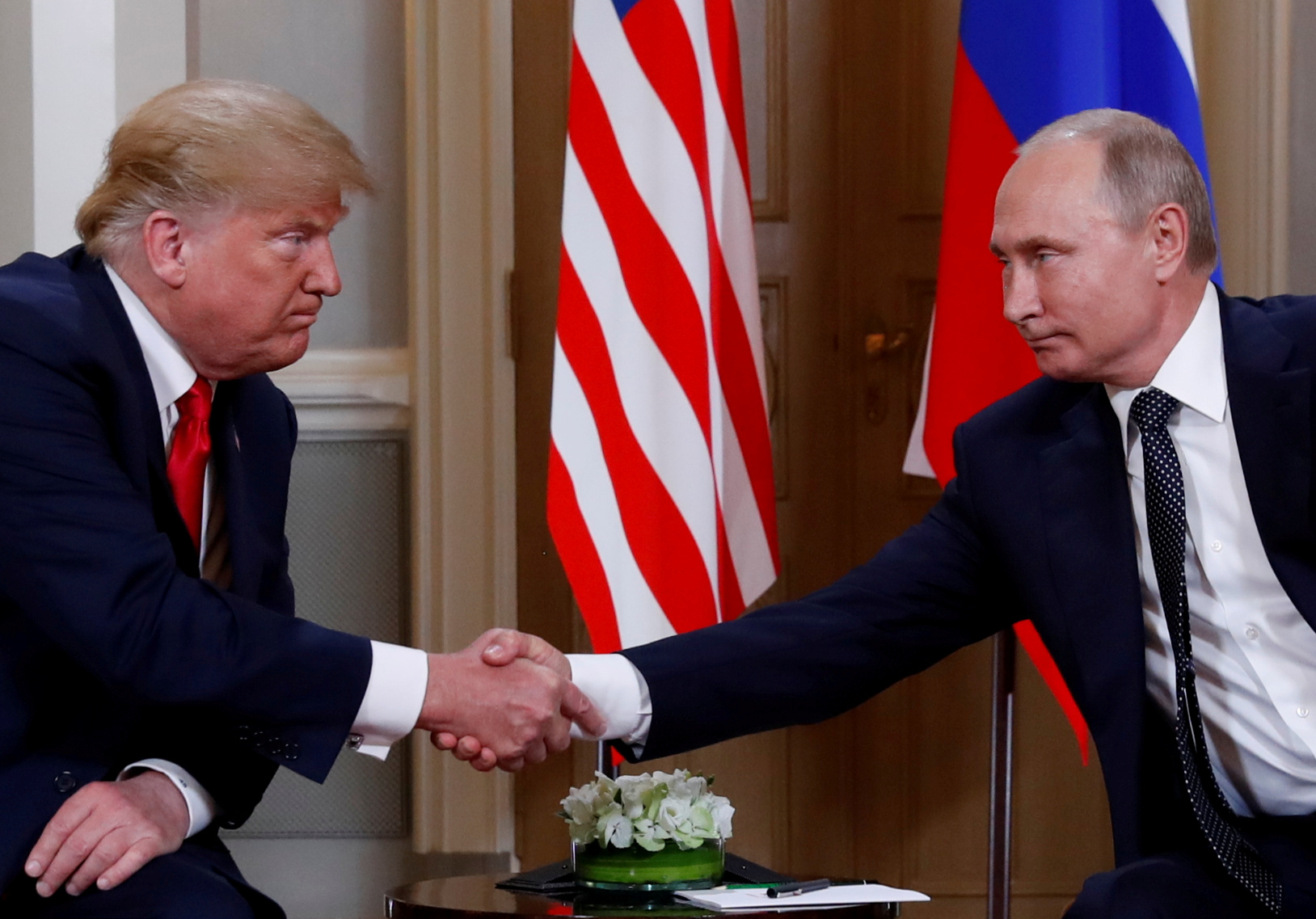 Дональд Трамп иВладимир Путин вХельсинки, 2018 год