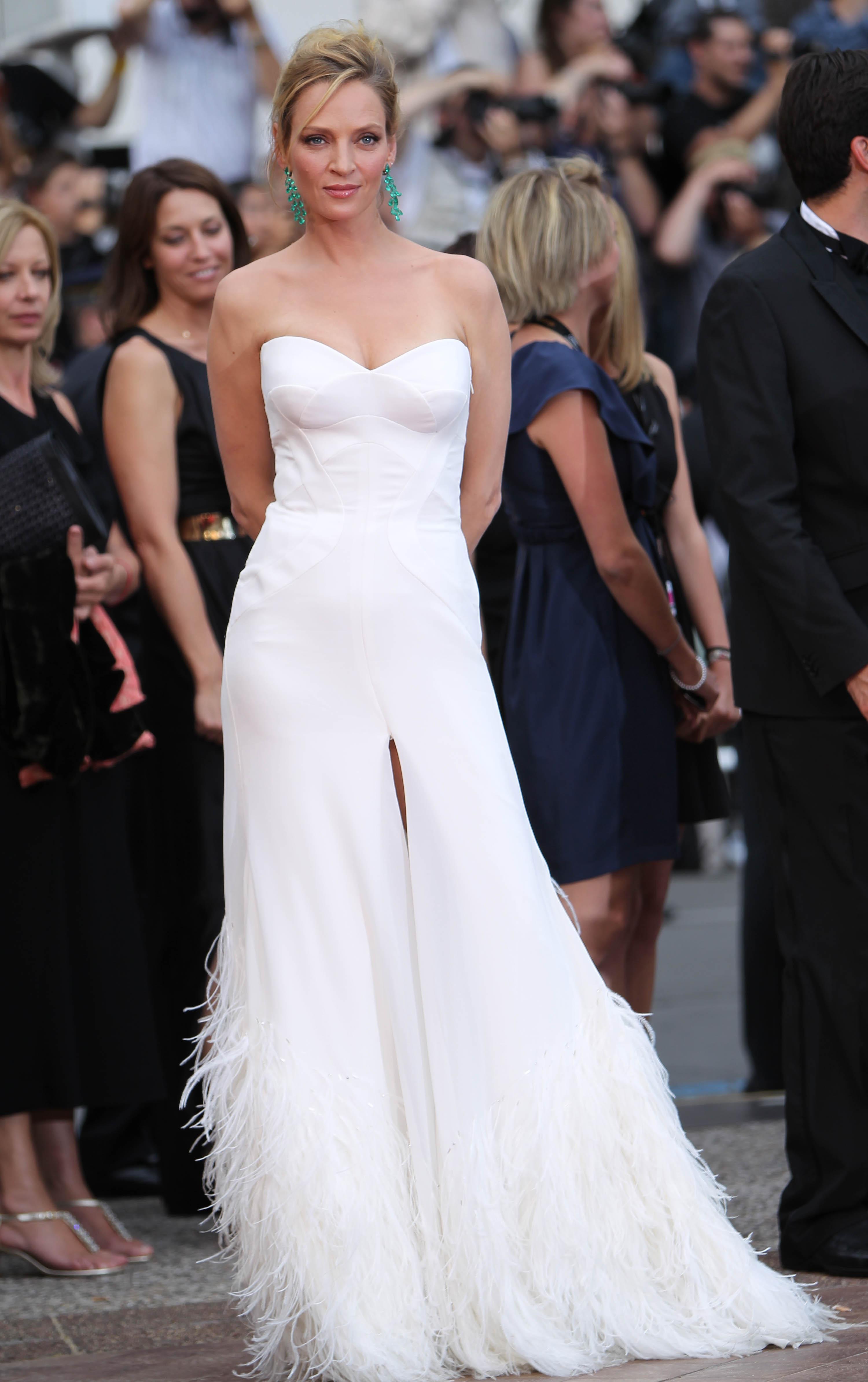 Ума Турман наоткрытии Каннского кинофестиваля в2011 году