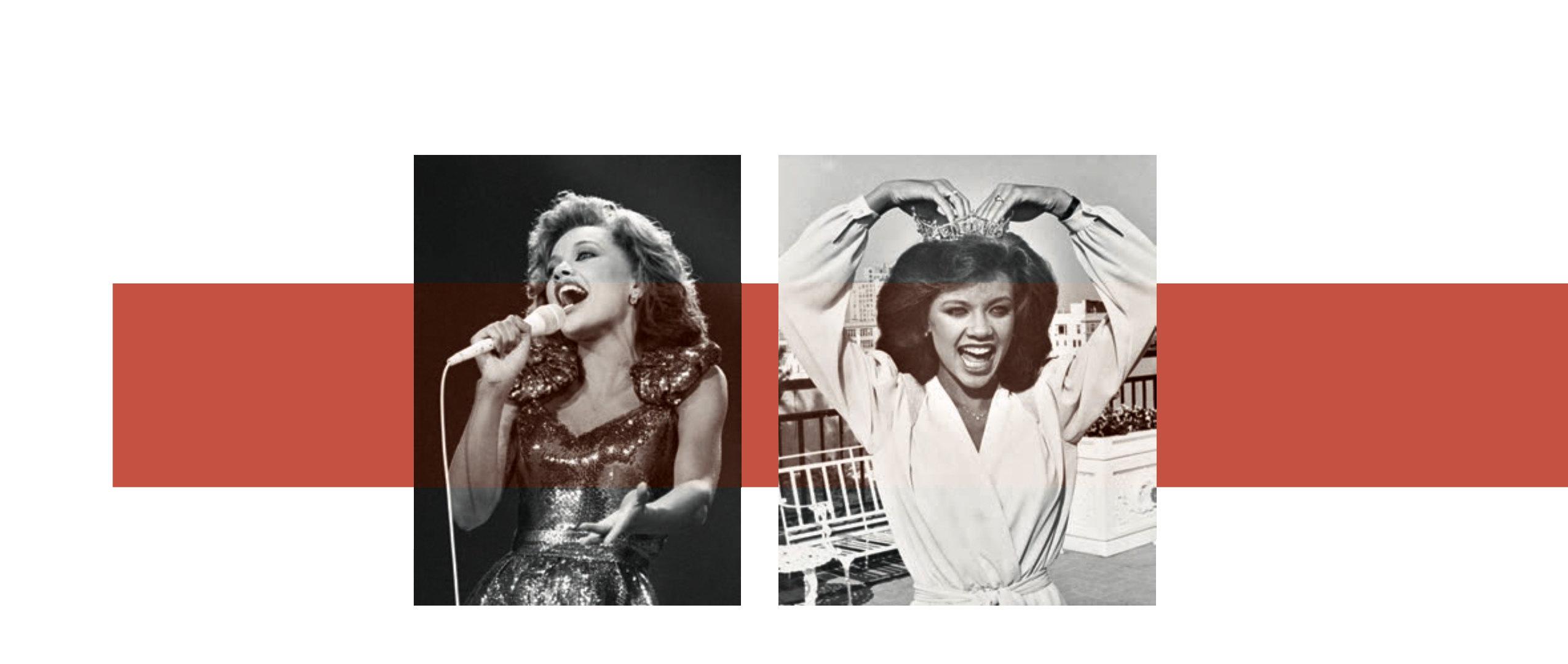 Слева: Ванесса Уильямс поет наодном изэтапов конкурса «Мисс Америка» Справа: Уильямс примеряет корону мисс Америка нафотосессии