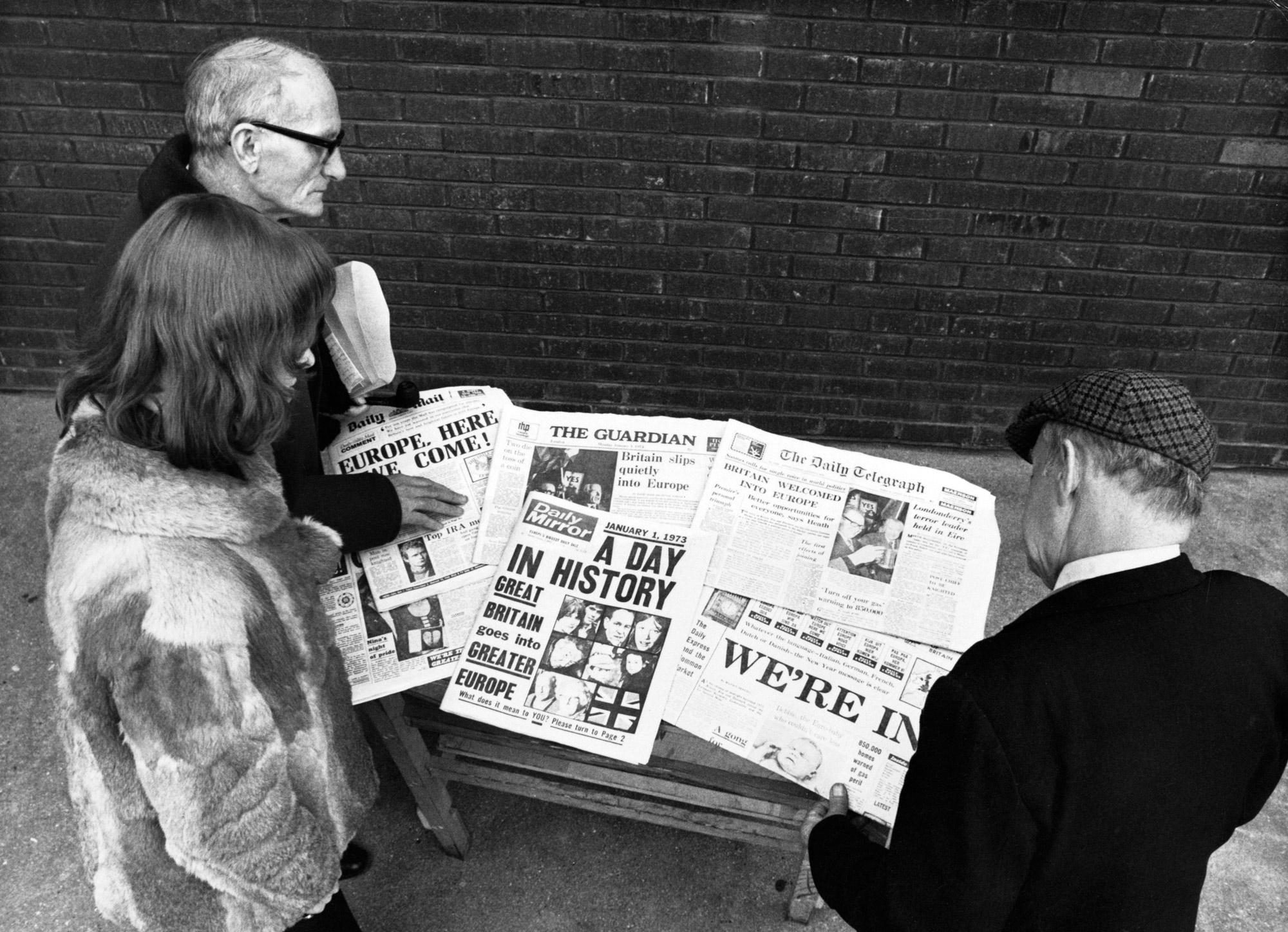 Заголовки лондонских газет овступлении Великобритании вЕвропейское экономическое сообщество (ЕЭС) в1973 году