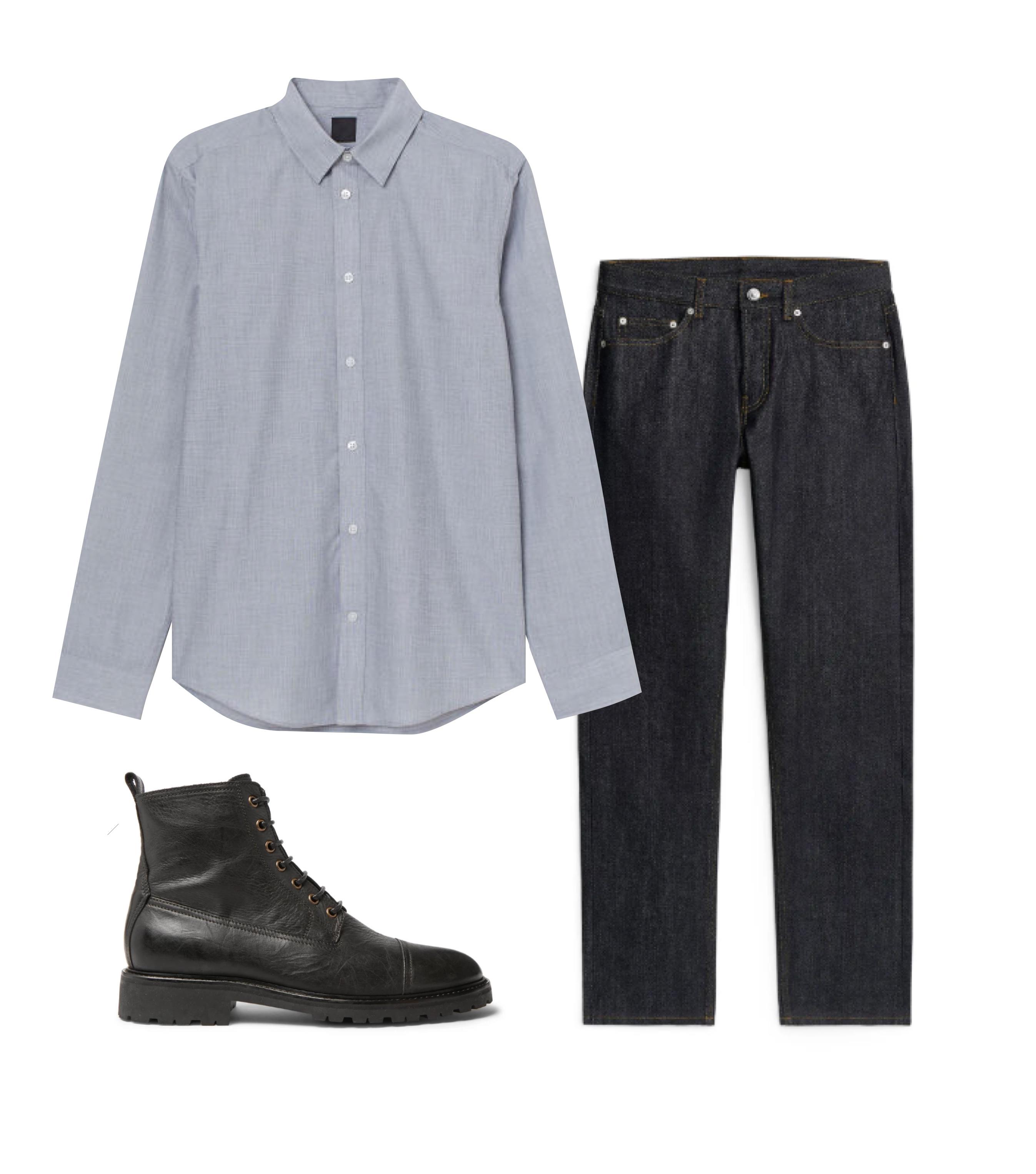 Джинсы Arket, $138; рубашка H&M, 1199 рублей; обувь Belstaff, €411