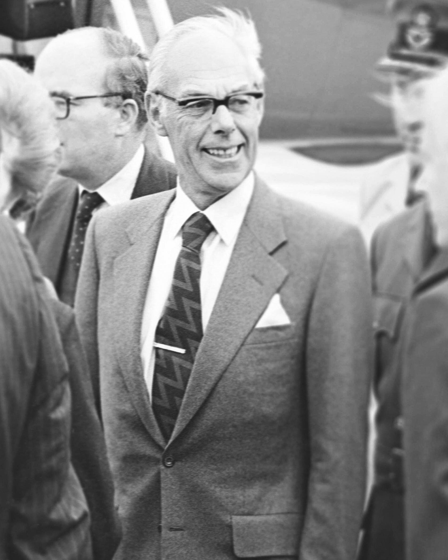 Sir Denis Thatcher Arriving At London Heathrow Airport