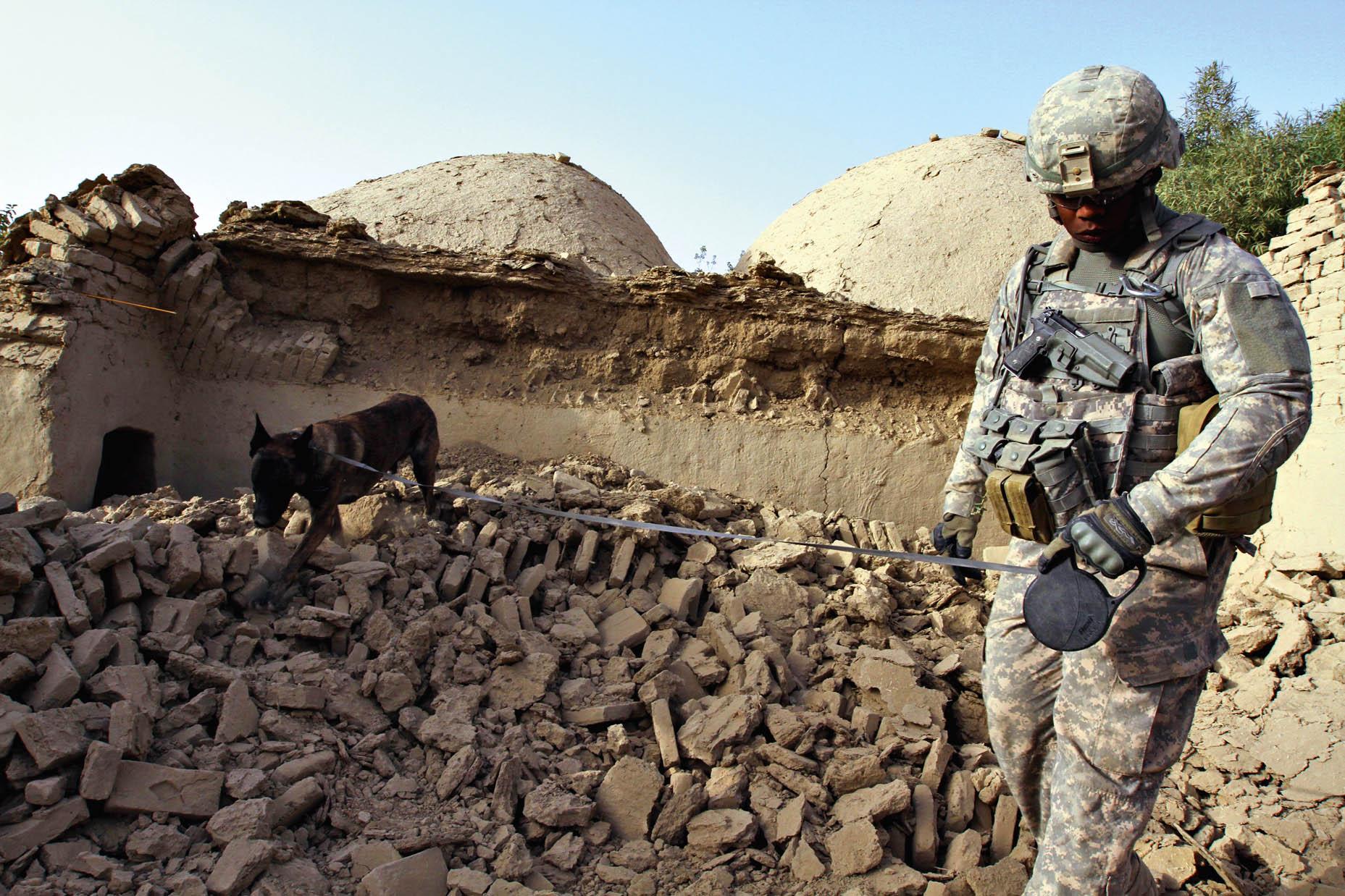 Сержант Максвелл, ведущий наповодке служебную собаку, — кадр, сделанный Жуаном Сильвой занесколько секунд довзрыва.