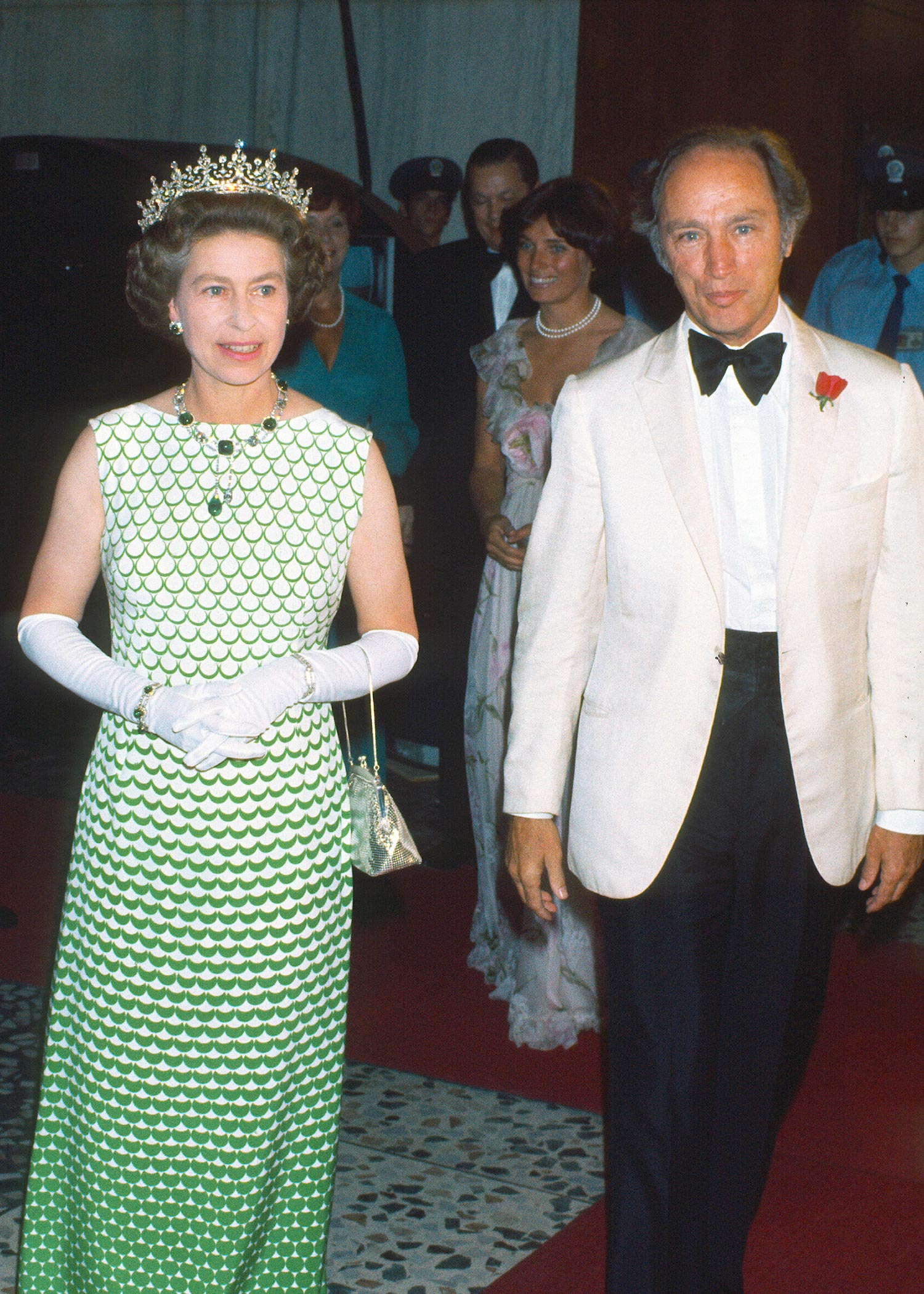 CANADA - AUGUST 01: Queen Elizabeth ll, wearing the tiara known as 'Granny's Tiara', and Canadian Prime Minister Pierre Trudeau attend a formal event on August 01, 1976 in Canada. (Photo by Anwar Hussein/Getty Images)