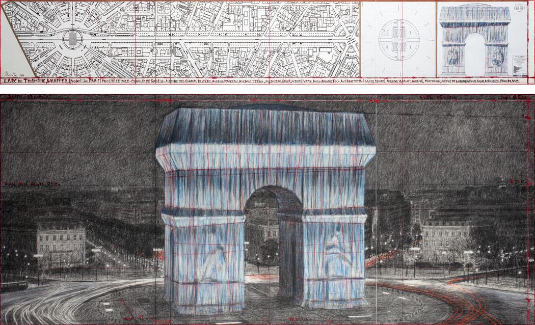 «Упакованная Триумфальная арка», эскиз