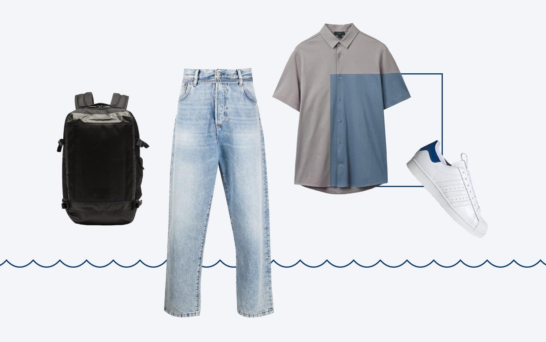 Джинсы Acne Studios, 21 883 руб.; рубашка COS, $69; кроссовки adidas, 4499 руб.; рюкзак Eastpak, €85