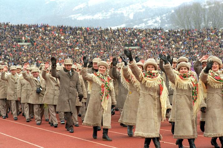 Делегация СССР назимней Олимпиаде вСараево, 1984 год.