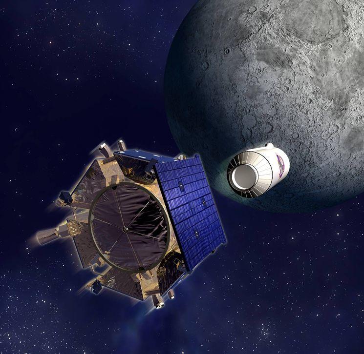 Подпись: Отделение аппарата LCROSS, принадлежавшего NASA ивпервые надежно обнаружившего лед вприполярных районах Луны (водный лед хорошо отражает радиоволны)