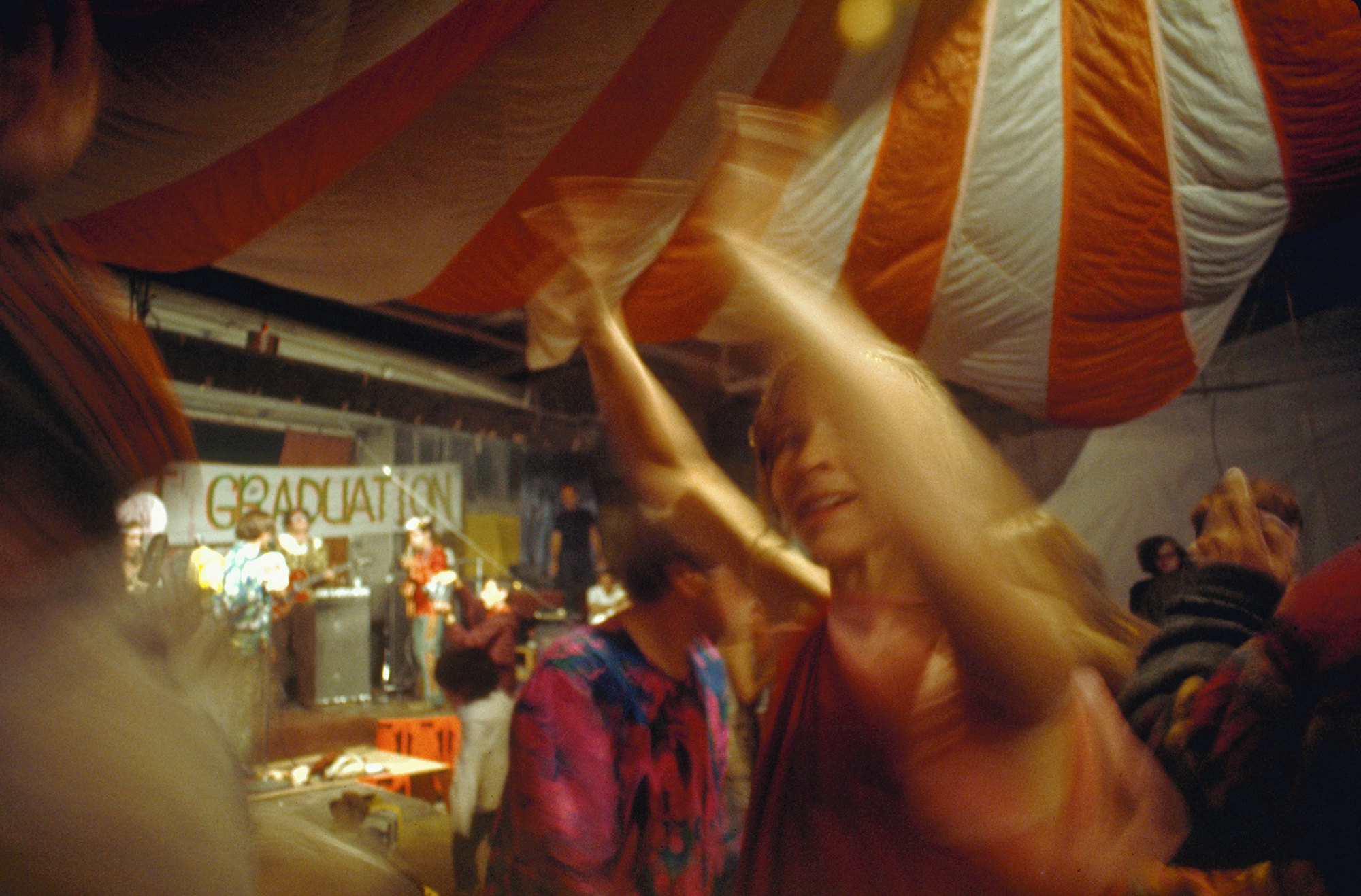 People dance at the Acid Test Graduation, a celebration organized by Ken Kesey and his Merry Pranksters, in which participants graduated