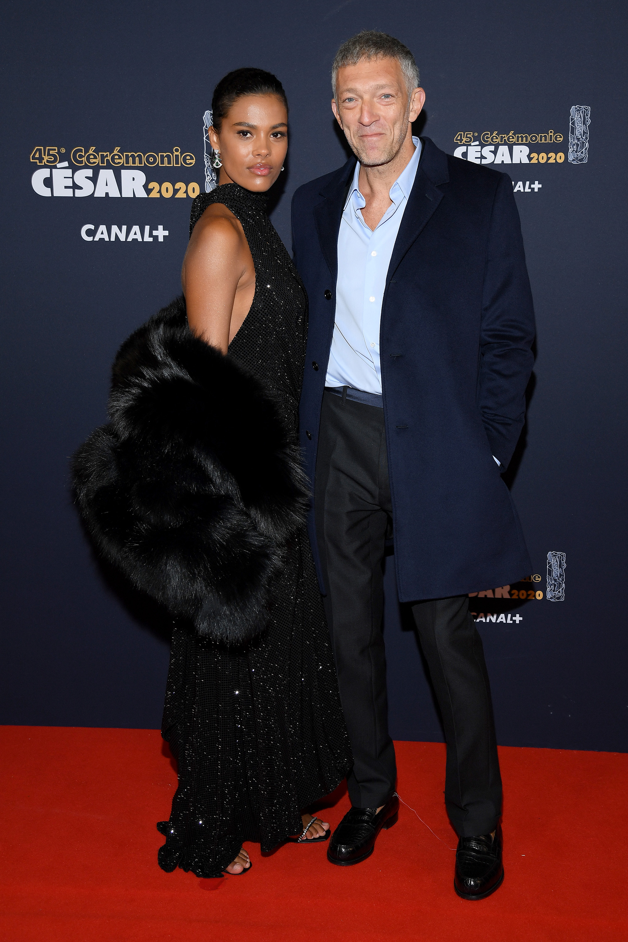 PARIS, FRANCE - FEBRUARY 28: Tina Kunakey and Vincent Cassel arrives at the Cesar Film Awards 2020 Ceremony At Salle Pleyel In Paris on February 28, 2020 in Paris, France. (Photo by Pascal Le Segretain/Getty Images)