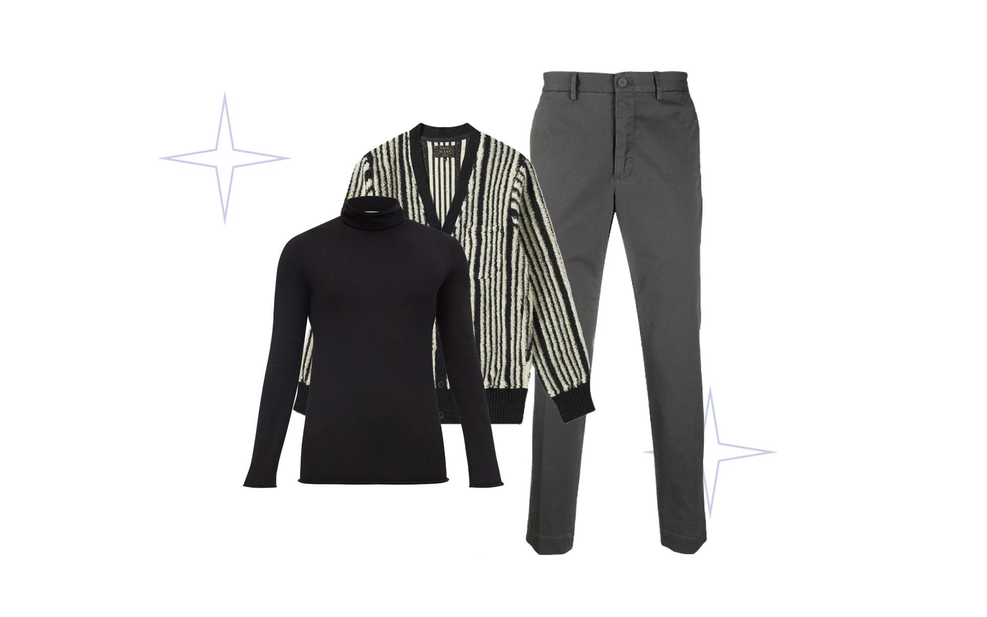 Кардиган Beams, $165; брюки Incotex, 16 650 руб. ; водолазка Bottega Veneta, €578