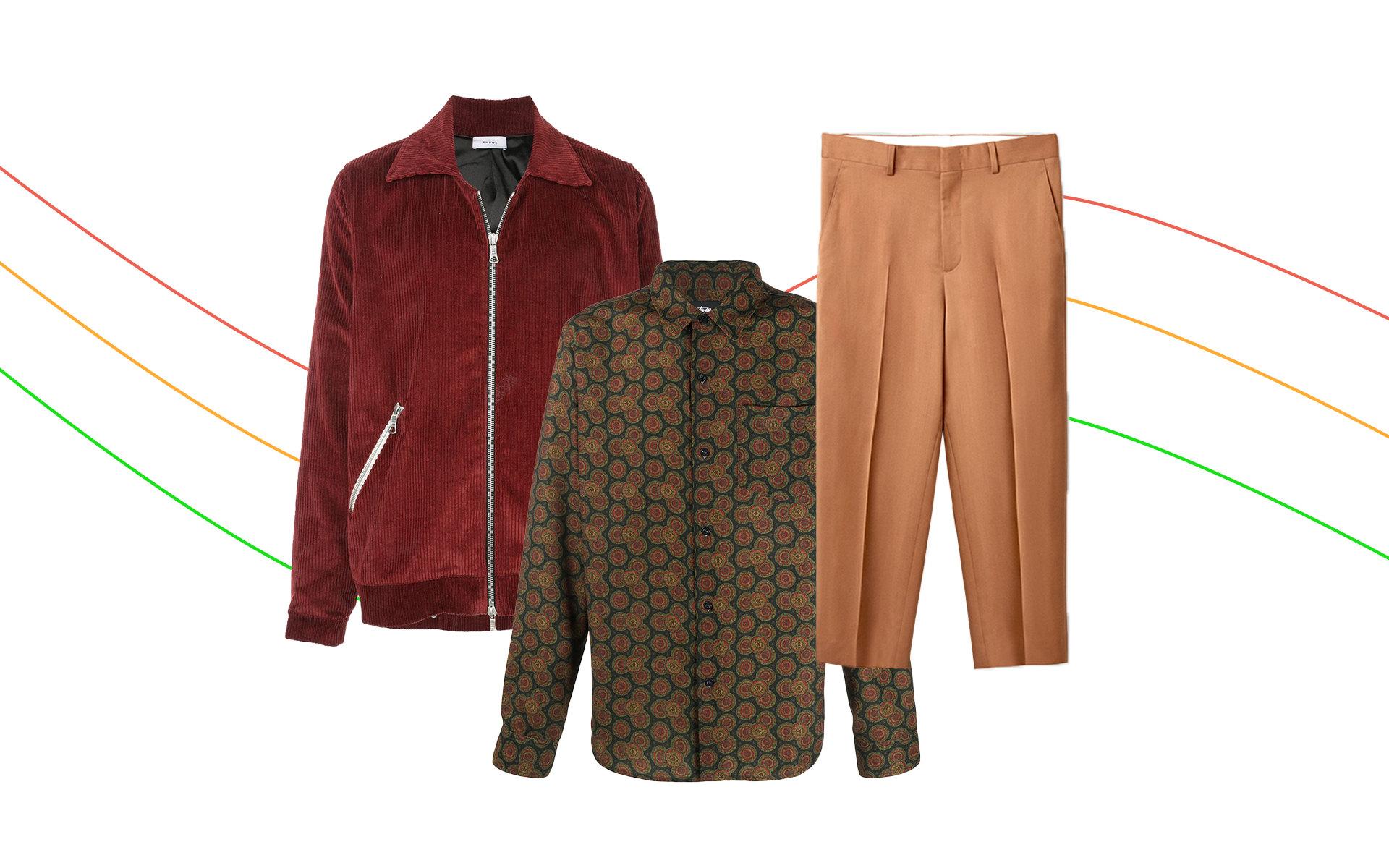 Куртка Rhude, 82 275 руб.; рубашка Stussy, 8 764 руб.; брюки COS, $125