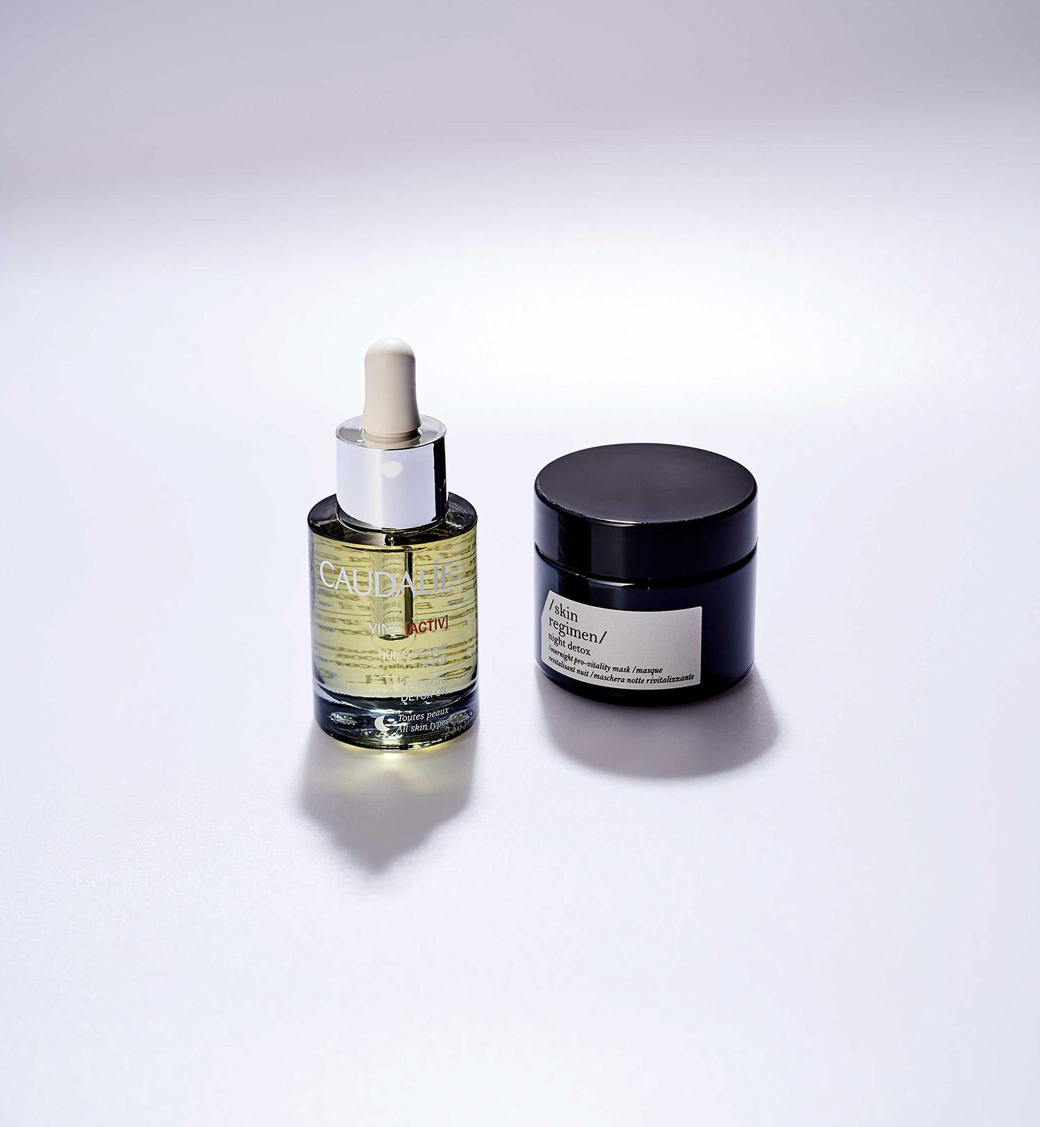 Ночное детокс-масло длялица Vineactiv Huile de Nuit Detox, Caudalie  Ночная детокс-маска Night Detox, Skin Regimen