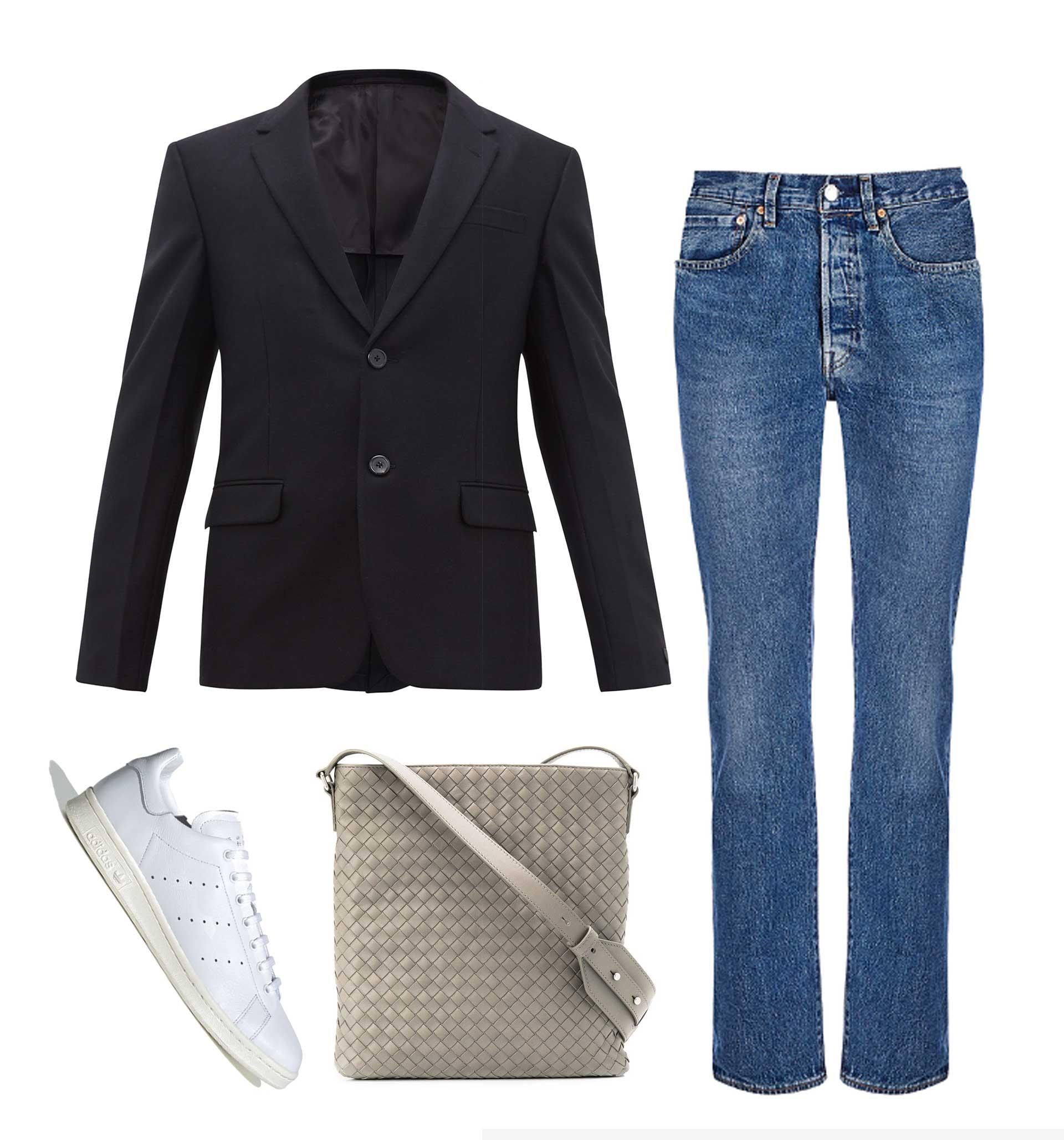 Джинсы Levi's, 7900 рублей; пиджак Prada, €1450; обувь adidas, 10999 рублей; cумка Bottega Veneta, 87761 рублей